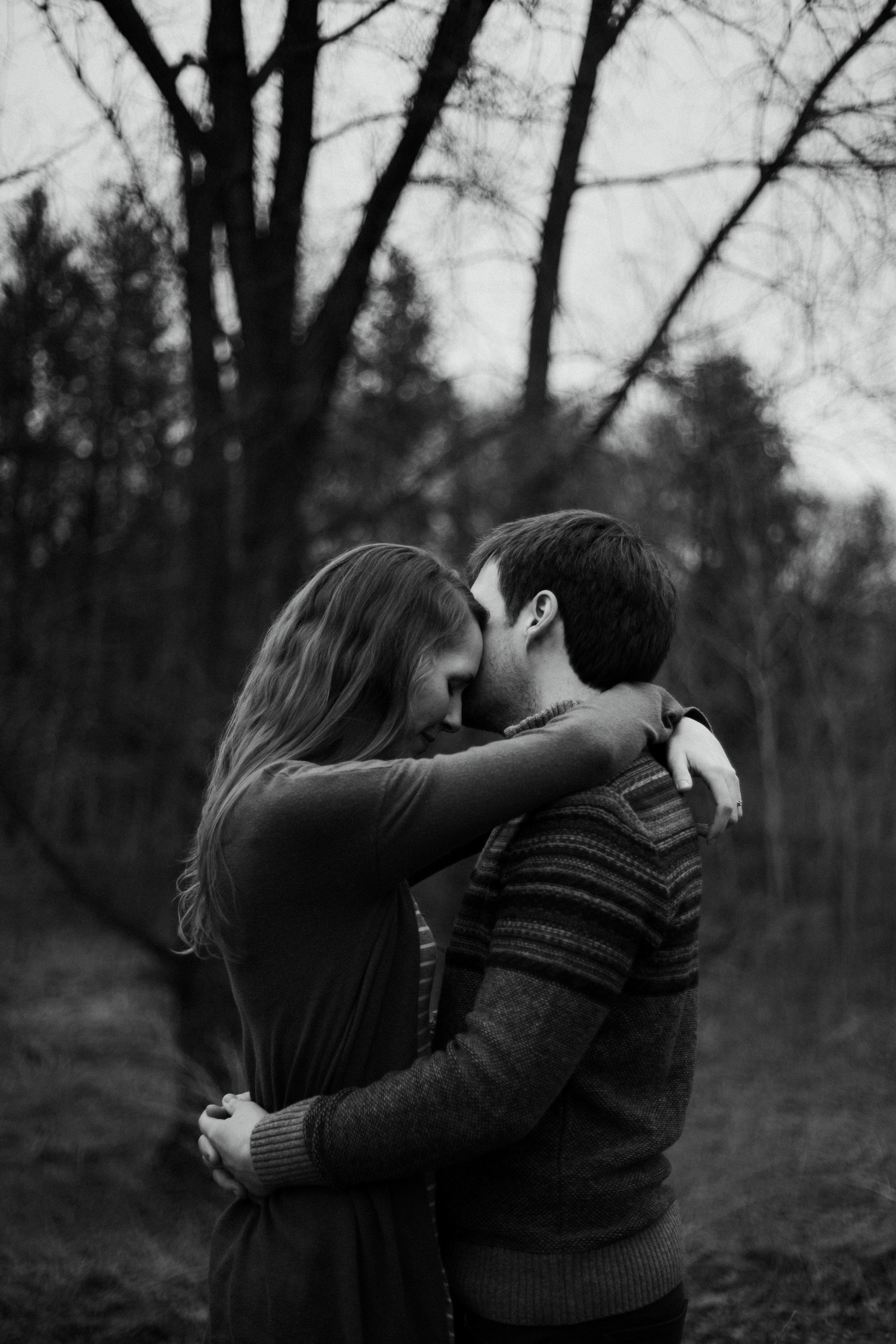 Emotional and intimate engagement photography at the Northland Arboretum. Photographed by Britt DeZeeuw, Brainerd Minnesota wedding photographer.