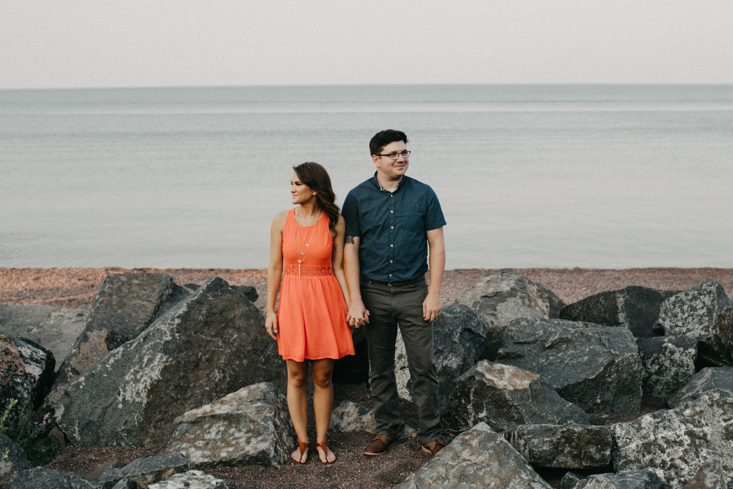 Unconventional engagement photography on the north shore photographed by Duluth wedding photographer, Britt DeZeeuw