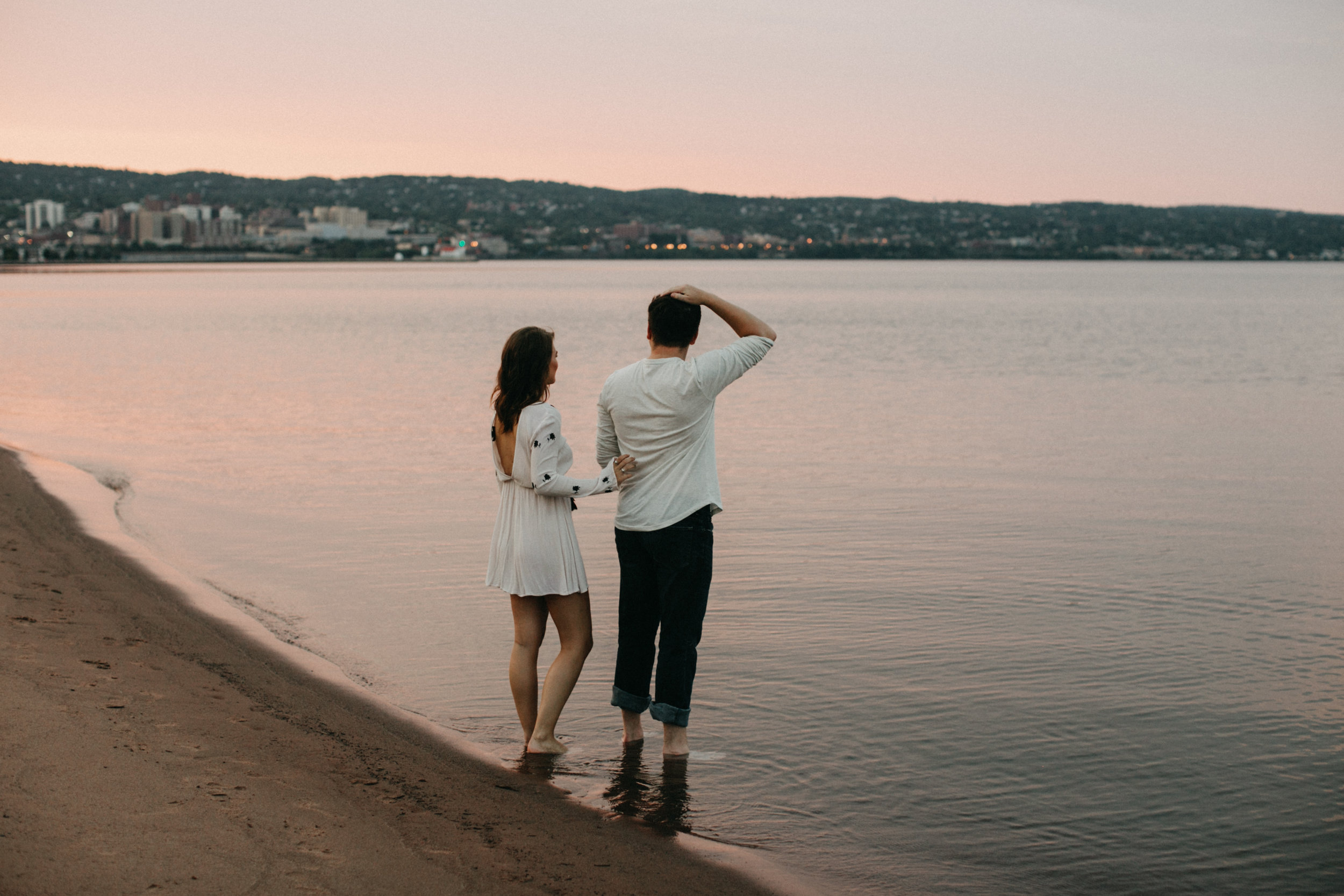 Park Point Beach, Duluth Minnesota engagement session at sunset