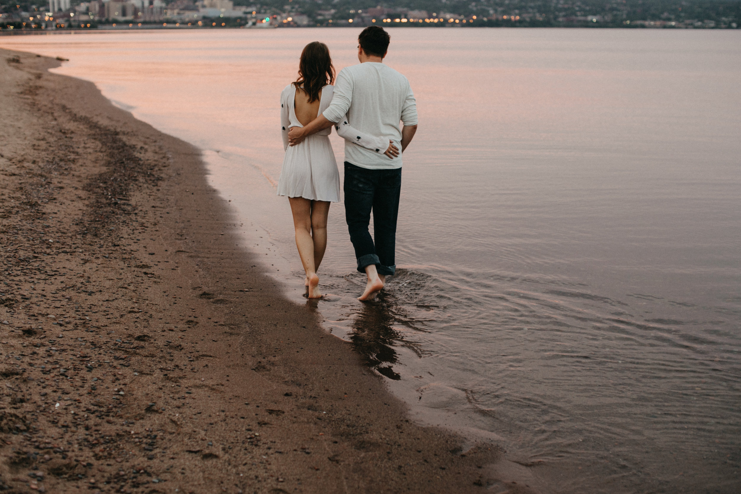 An intimate Minnesota summer engagement session in Duluth during twilight