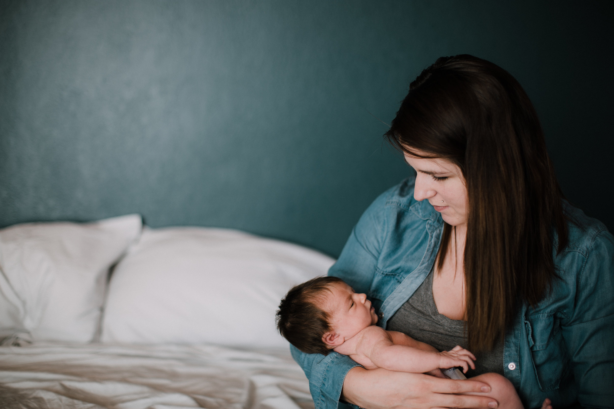Newborn baby girl and mother, documentary photography in Brainerd Minnesota