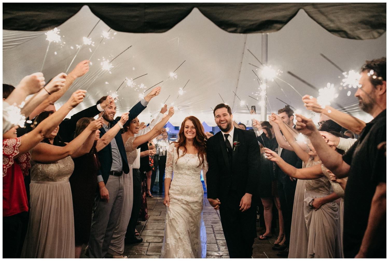 Sparkler wedding exit at the Quarterdeck Resort in Nisswa Minnesota