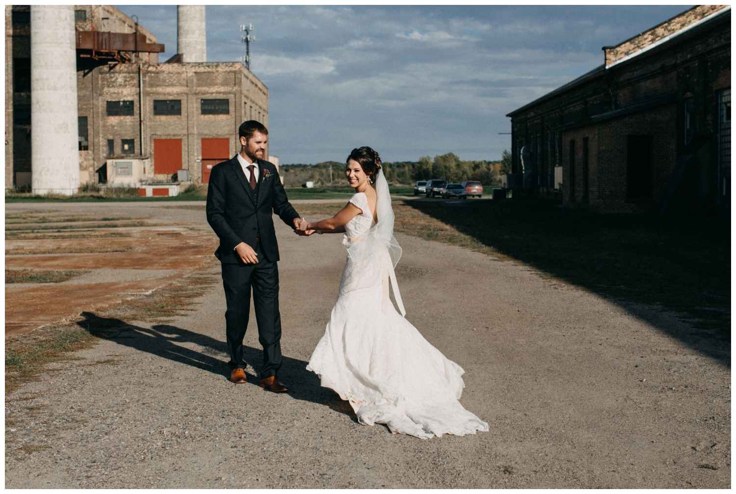 Romantic industrial wedding at the NP Event Space in Brainerd MN photographed by Britt DeZeeuw