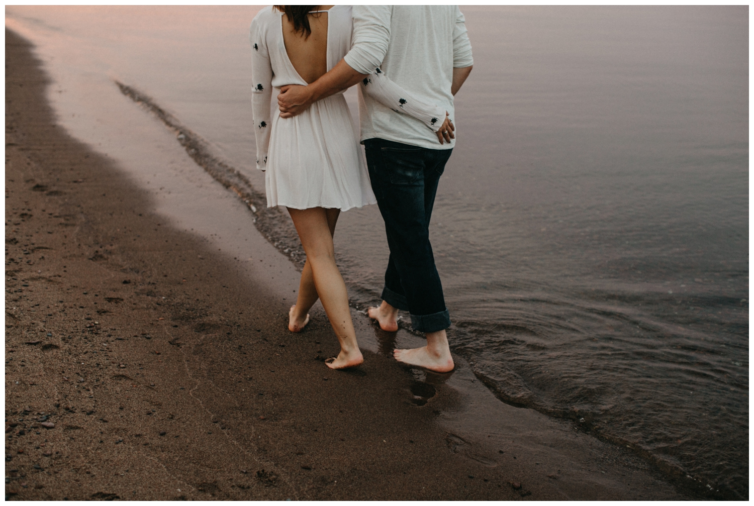 Duluth Minnesota engagement session on the north shore at sunset