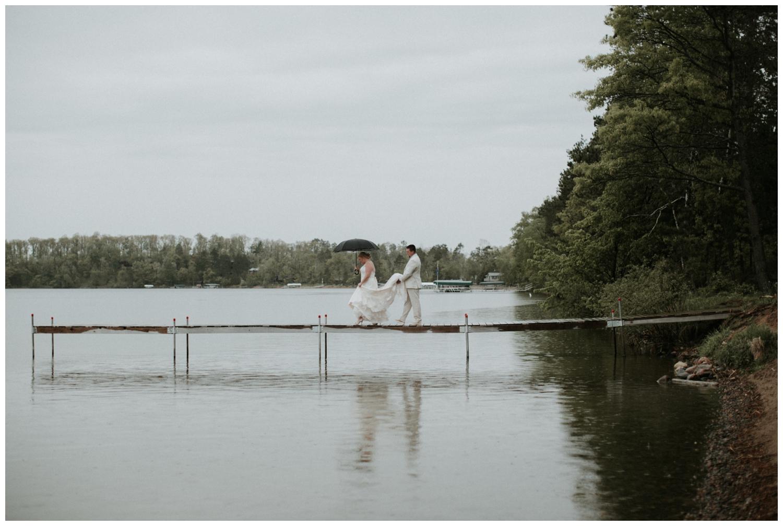 Rainy lake side wedding on Gull Lake