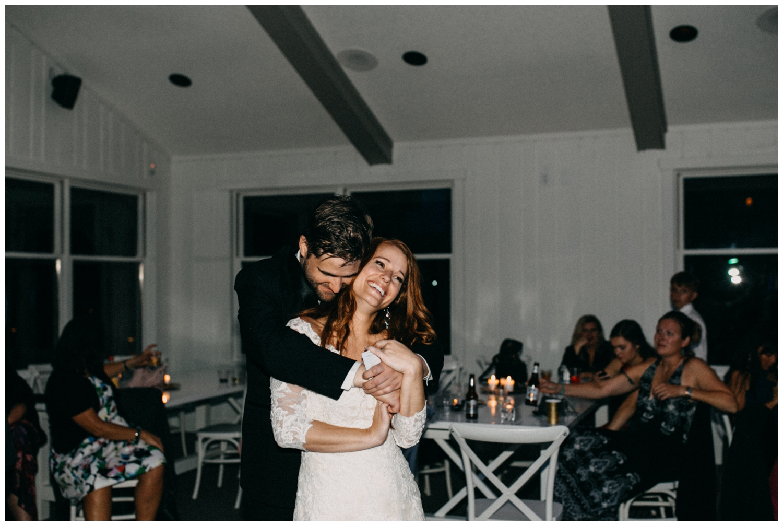 Bride and groom dancing at Quarterdeck resort wedding
