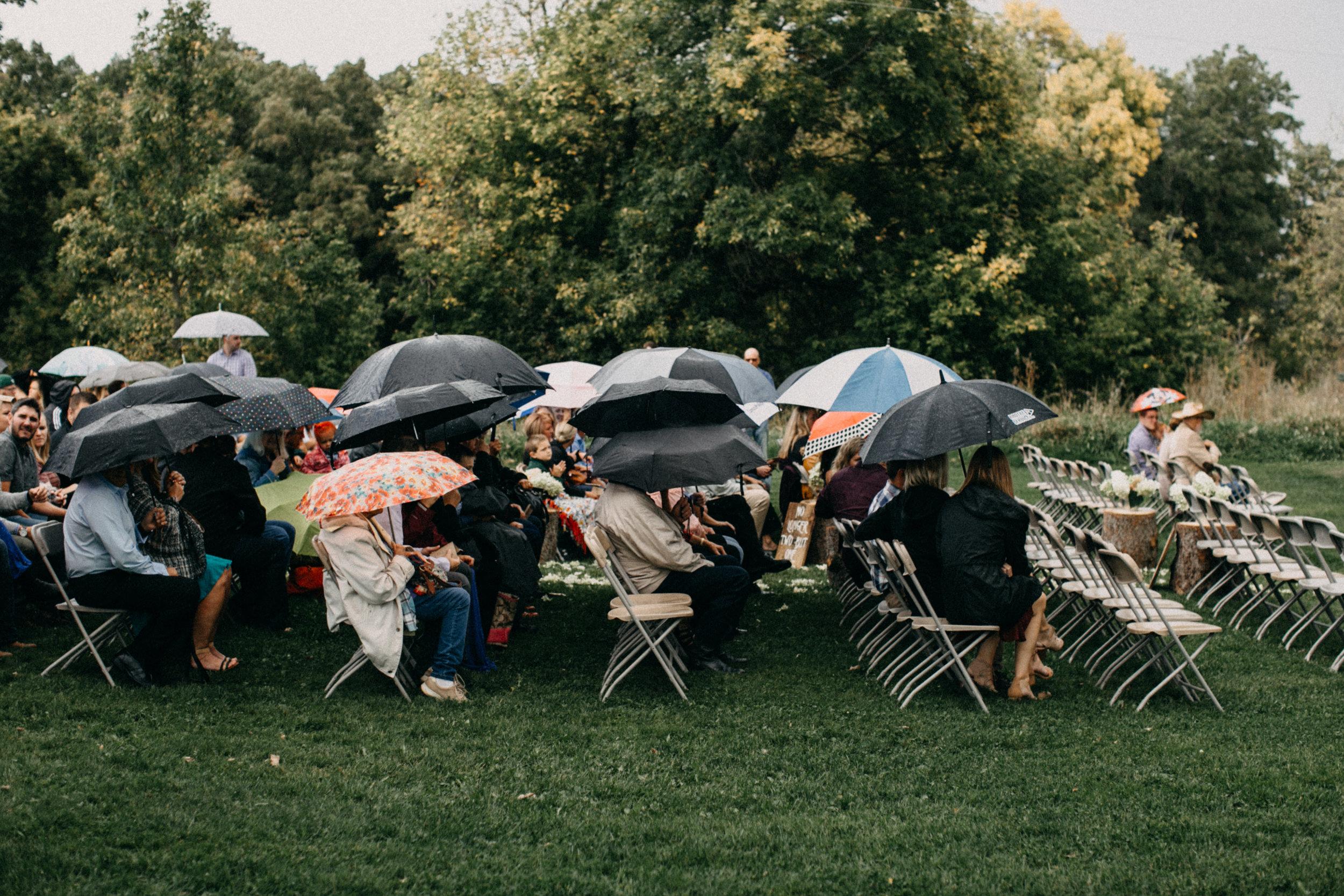 Rainy backyard wedding ceremony in Brainerd Minnesota