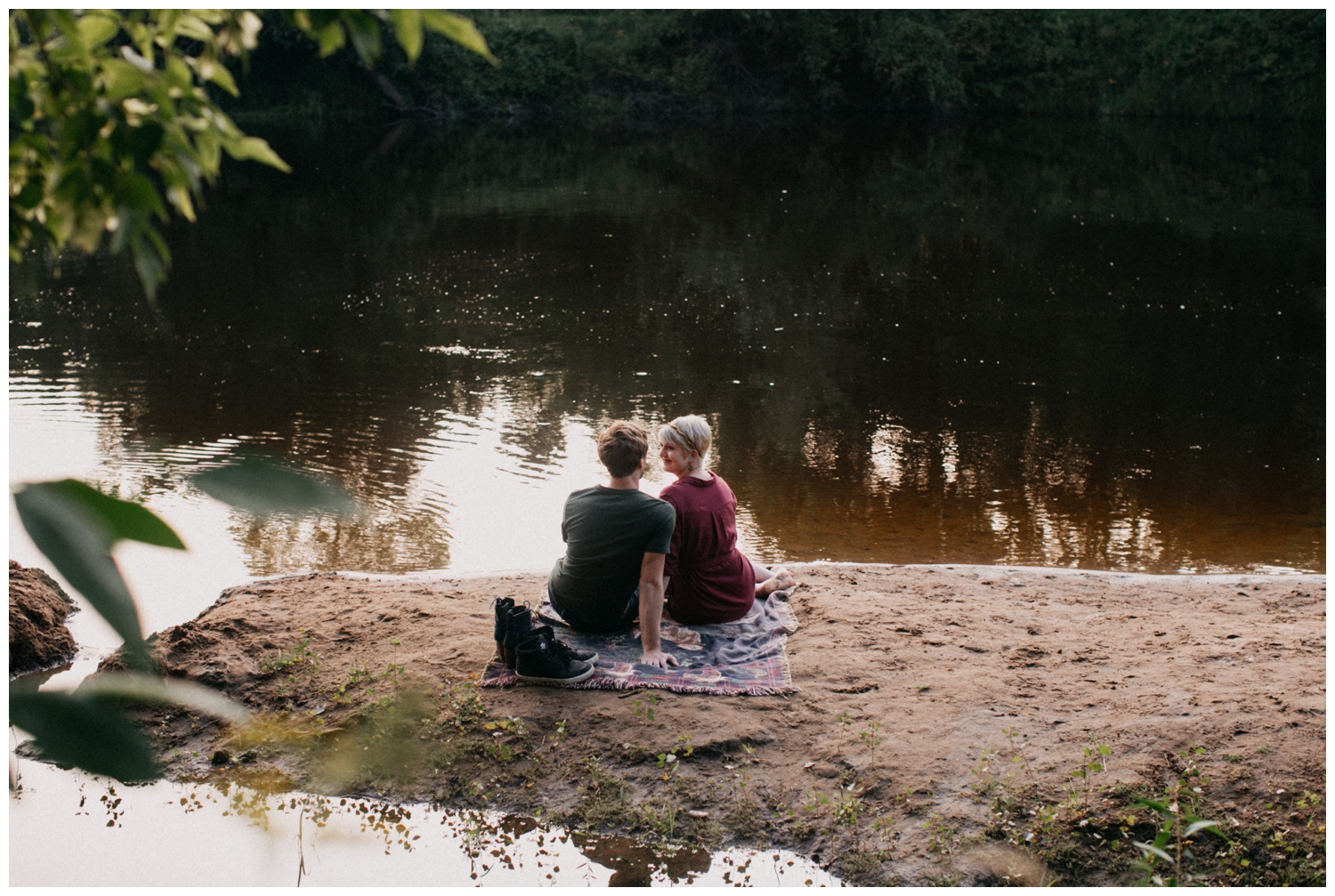 Romantic engagement session on the Rum River
