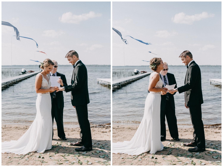 Summer wedding on the beach at Lake Edward in Brainerd, MN