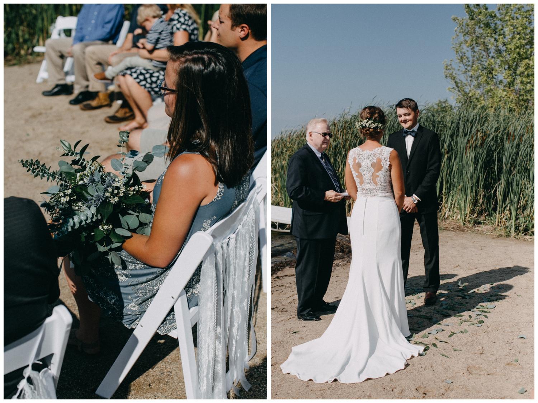 Beach wedding ceremony on Lake Edward in Brainerd MN
