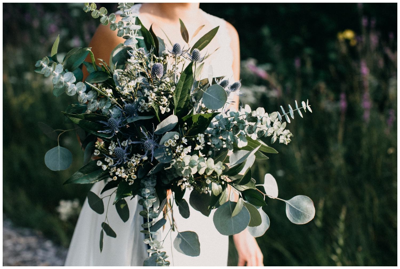 Simple greenery wedding bouquet photographed by Britt DeZeeuw