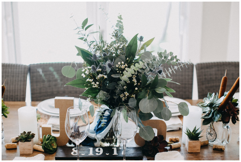 DIY table setting at intimate Lake Edward wedding