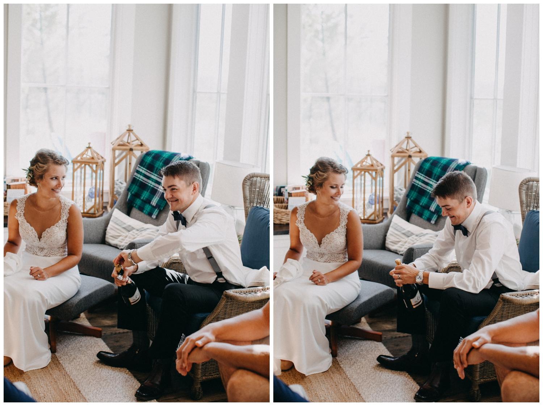 Champagne toast at Lake Edward cottage wedding