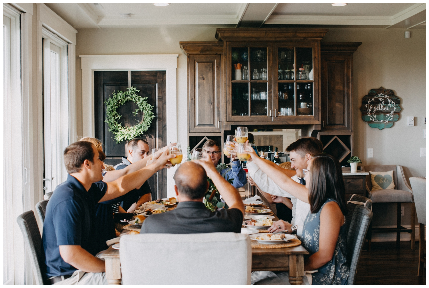 Home made family style wedding reception at intimate cabin wedding on Lake Edward