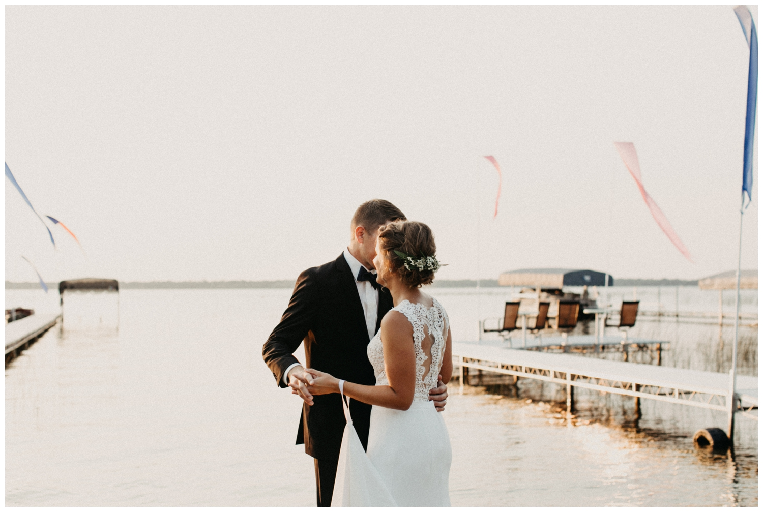 First dance on the beach at sunset on Lake Edward