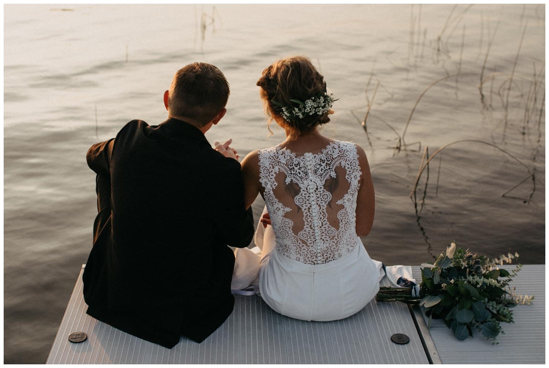 Intimate and romantic lake cabin wedding at sunset in Brainerd Minnesota