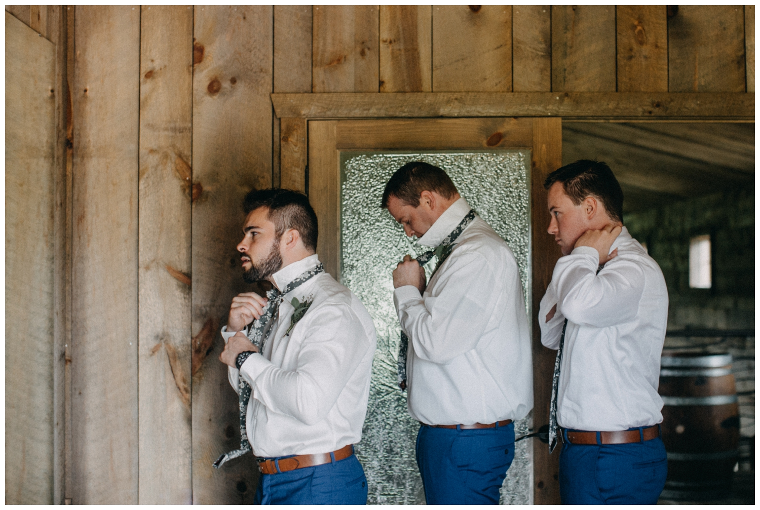 Groomsmen getting ready at Creekside Farm