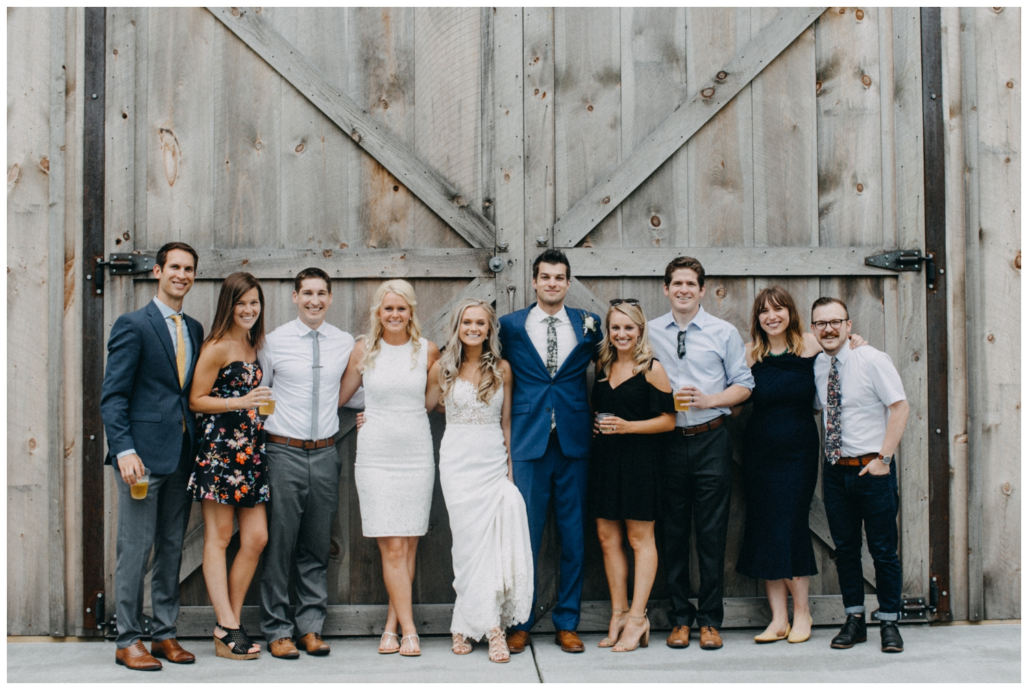 Casual group photos at Creekside Farm wedding