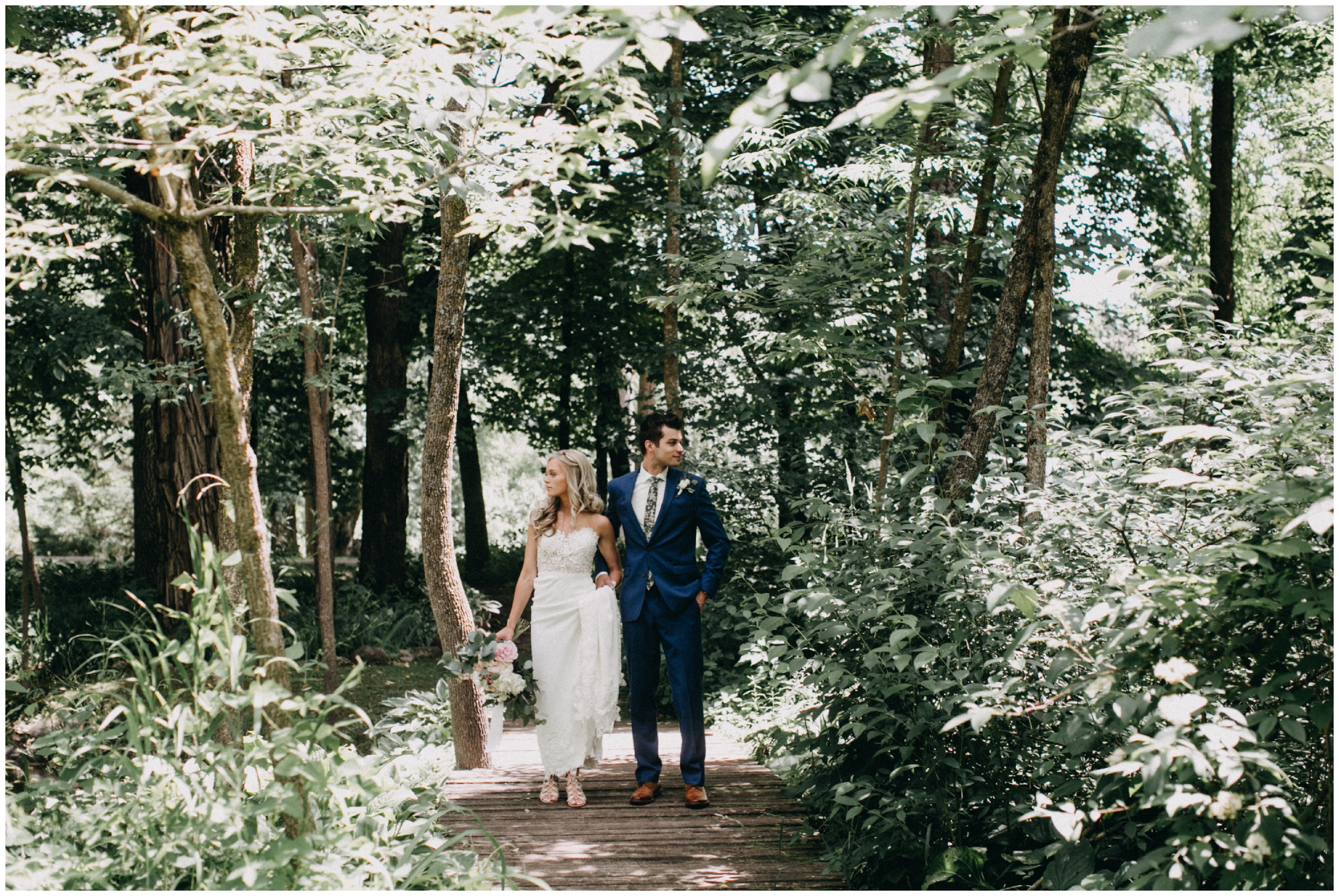 Bride and groom in the woods at Creekside Farm
