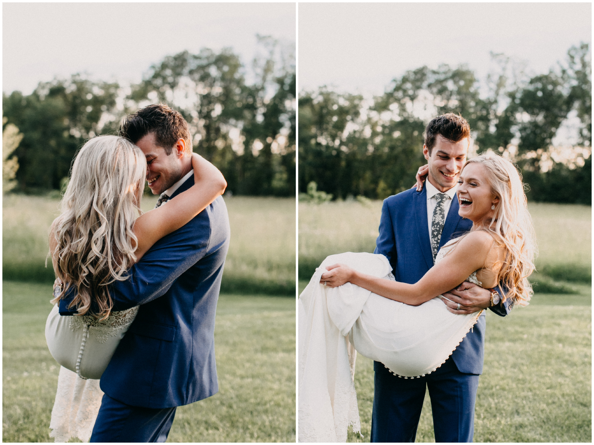 Fun and carefree wedding portraits with bride and groom at Creekside Farm