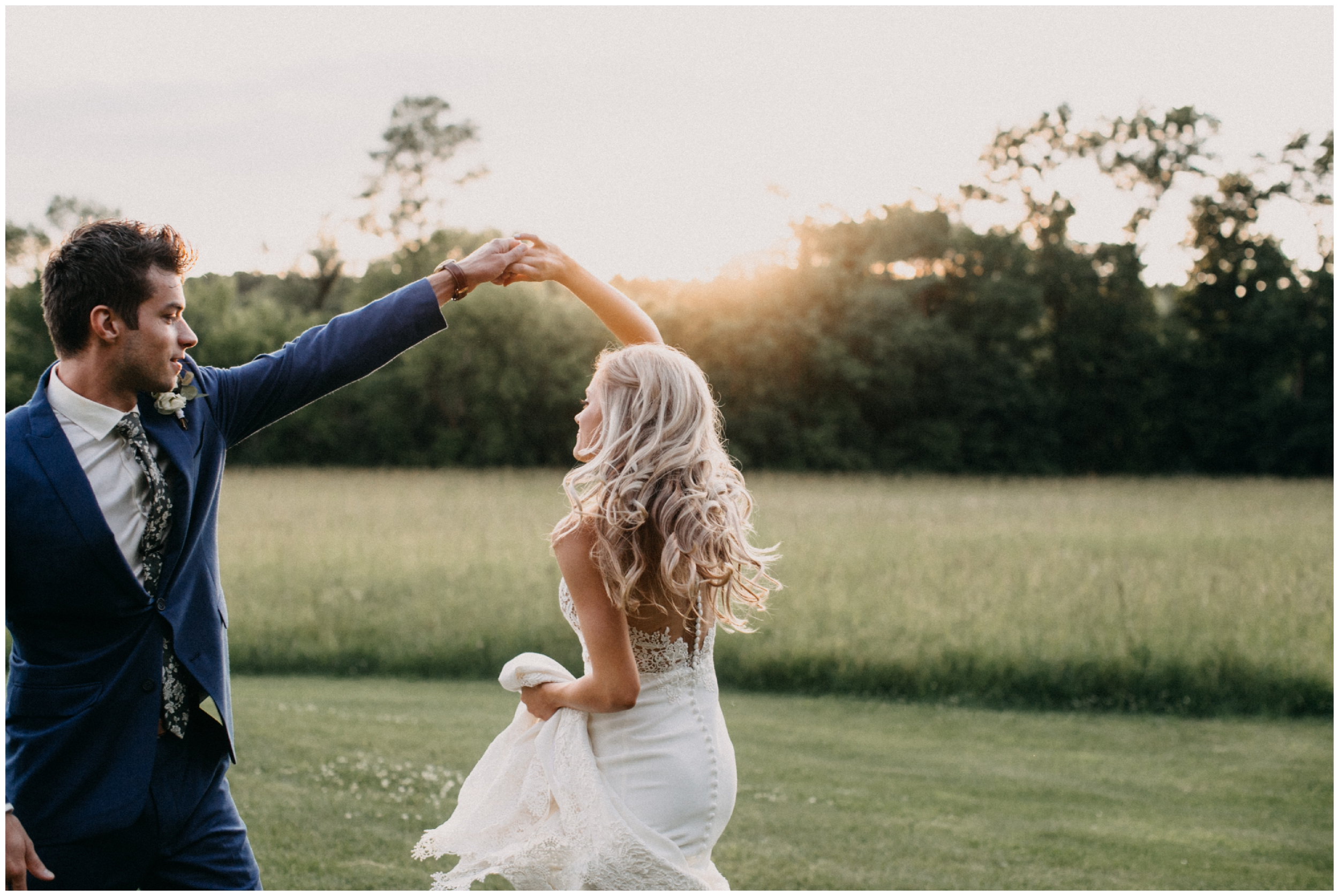 Bride and groom dancing at sunset during Creekside Farm wedding
