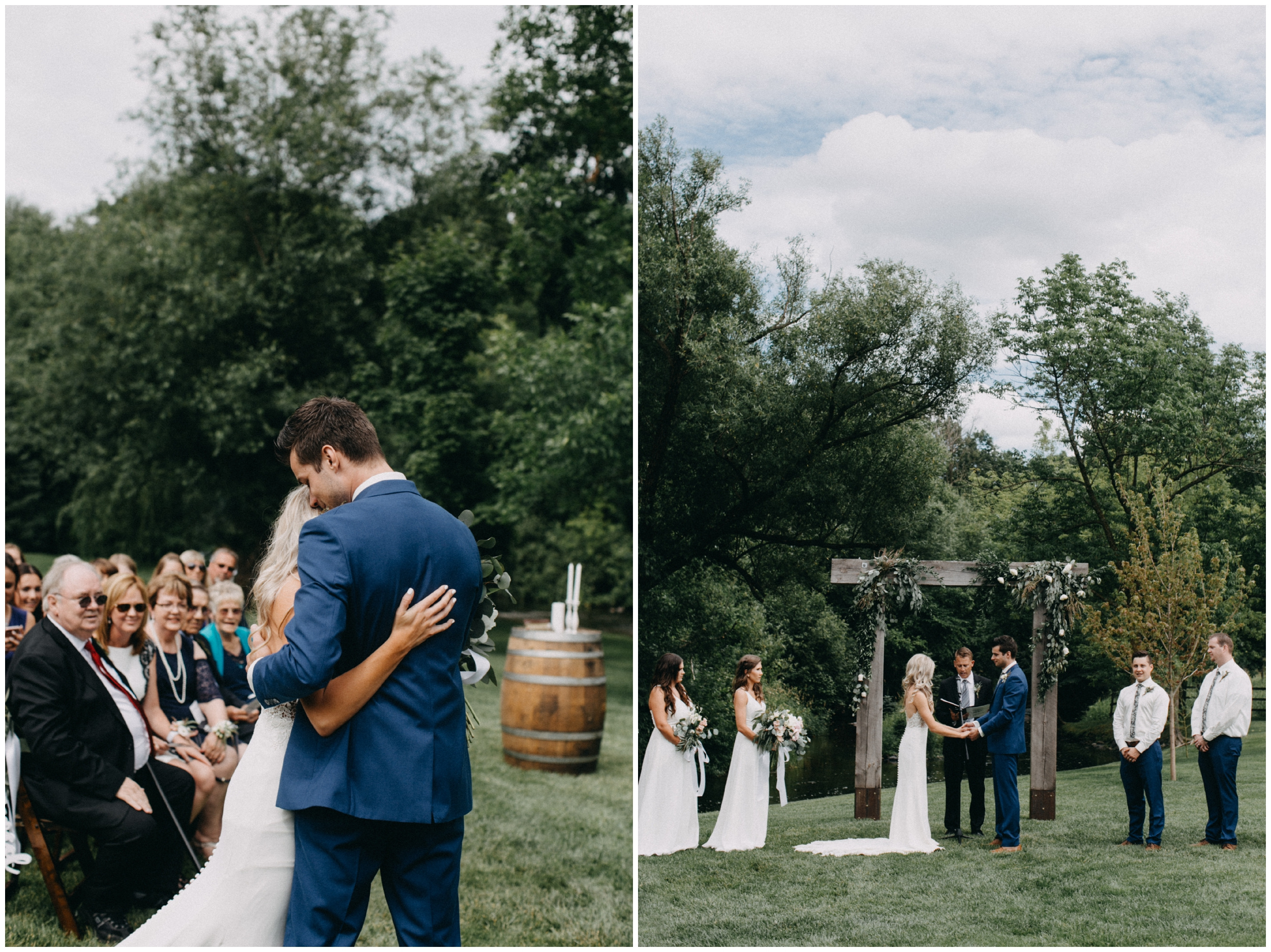 Outdoor summer wedding ceremony at Creekside Farm in Rush City, MN