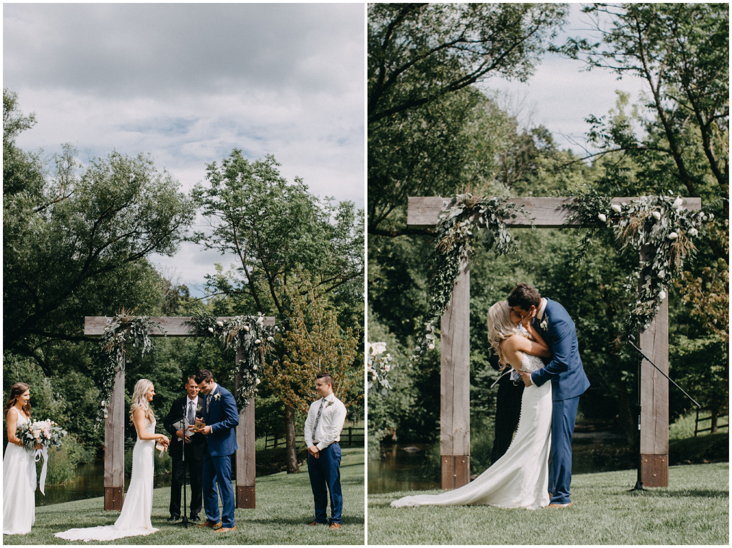 Backyard wedding ceremony at Creekside Farm in Rush City, Minnesota