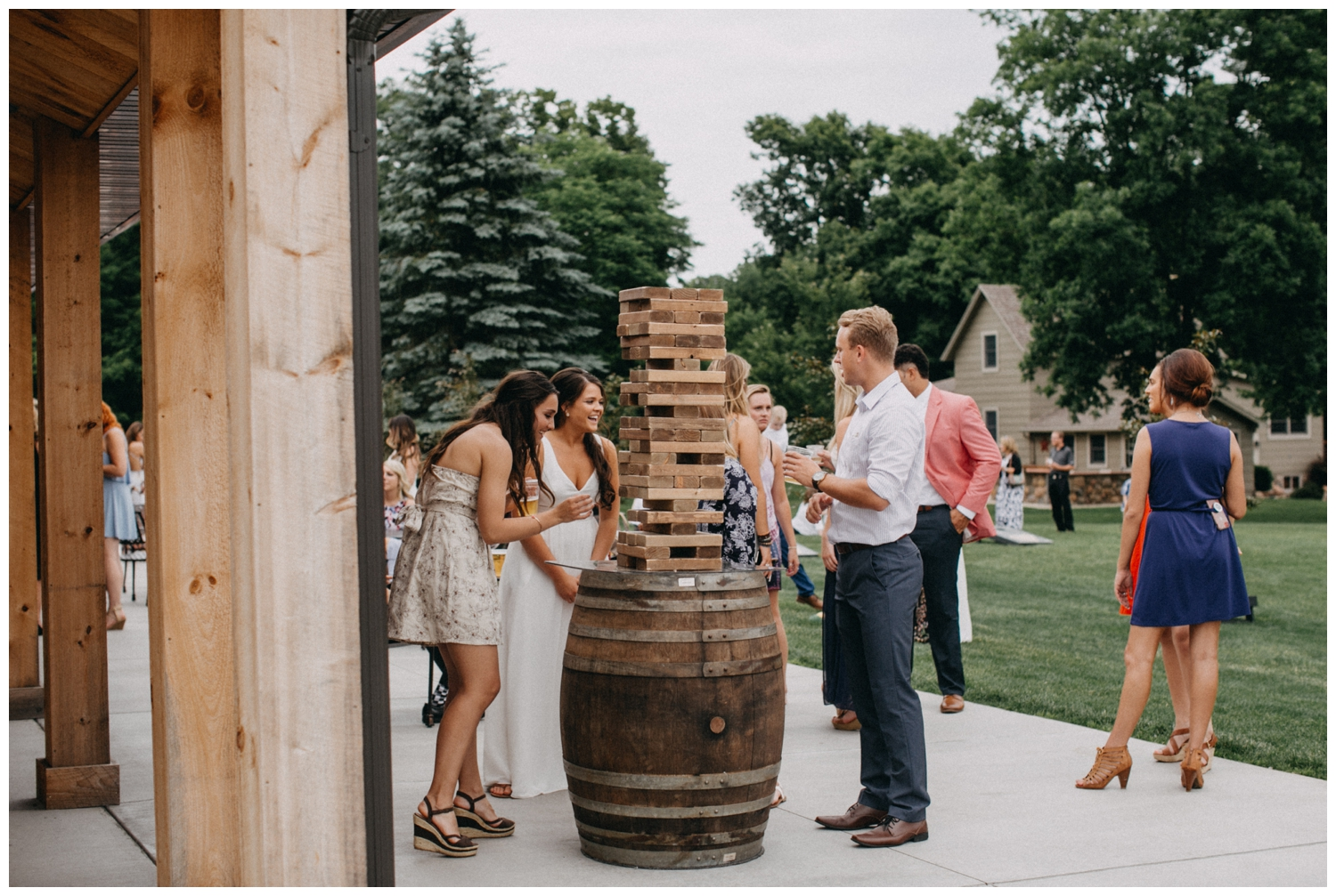 Jumbo JENGA game at Creekside Farm wedding reception