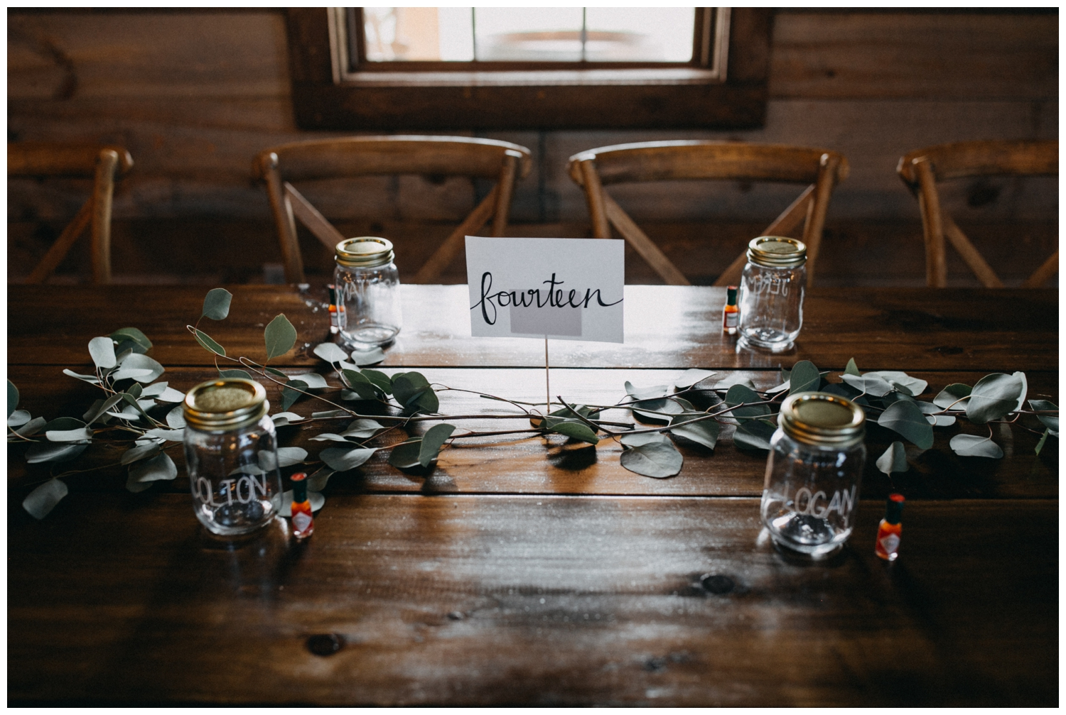 Eucalyptus table setting at Creekside Farm wedding reception