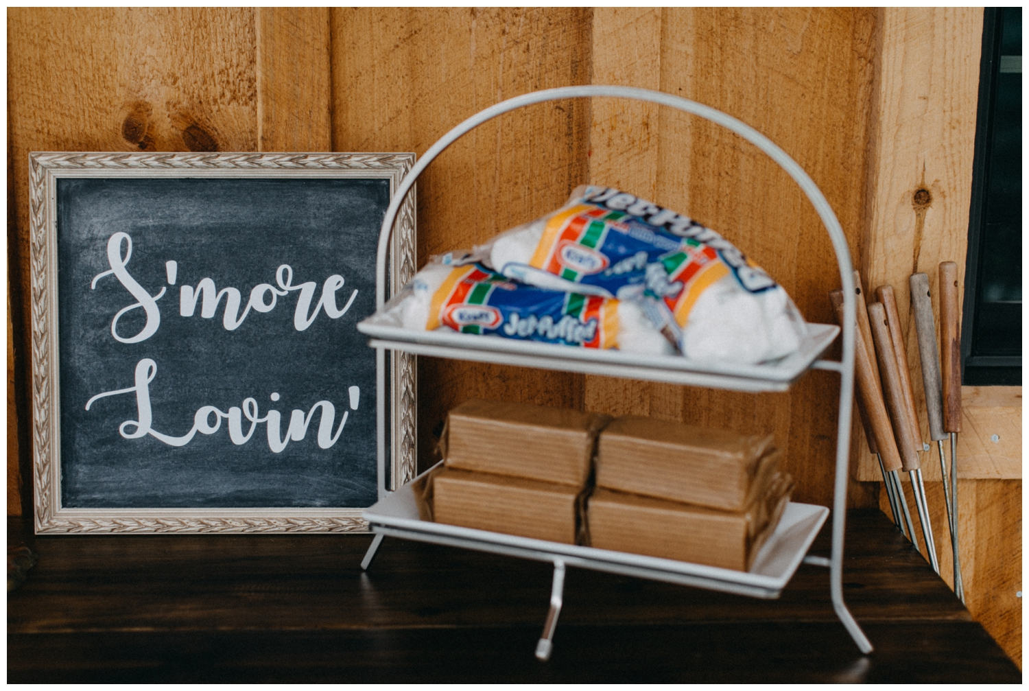 S'more bar at Creekside Farm wedding reception