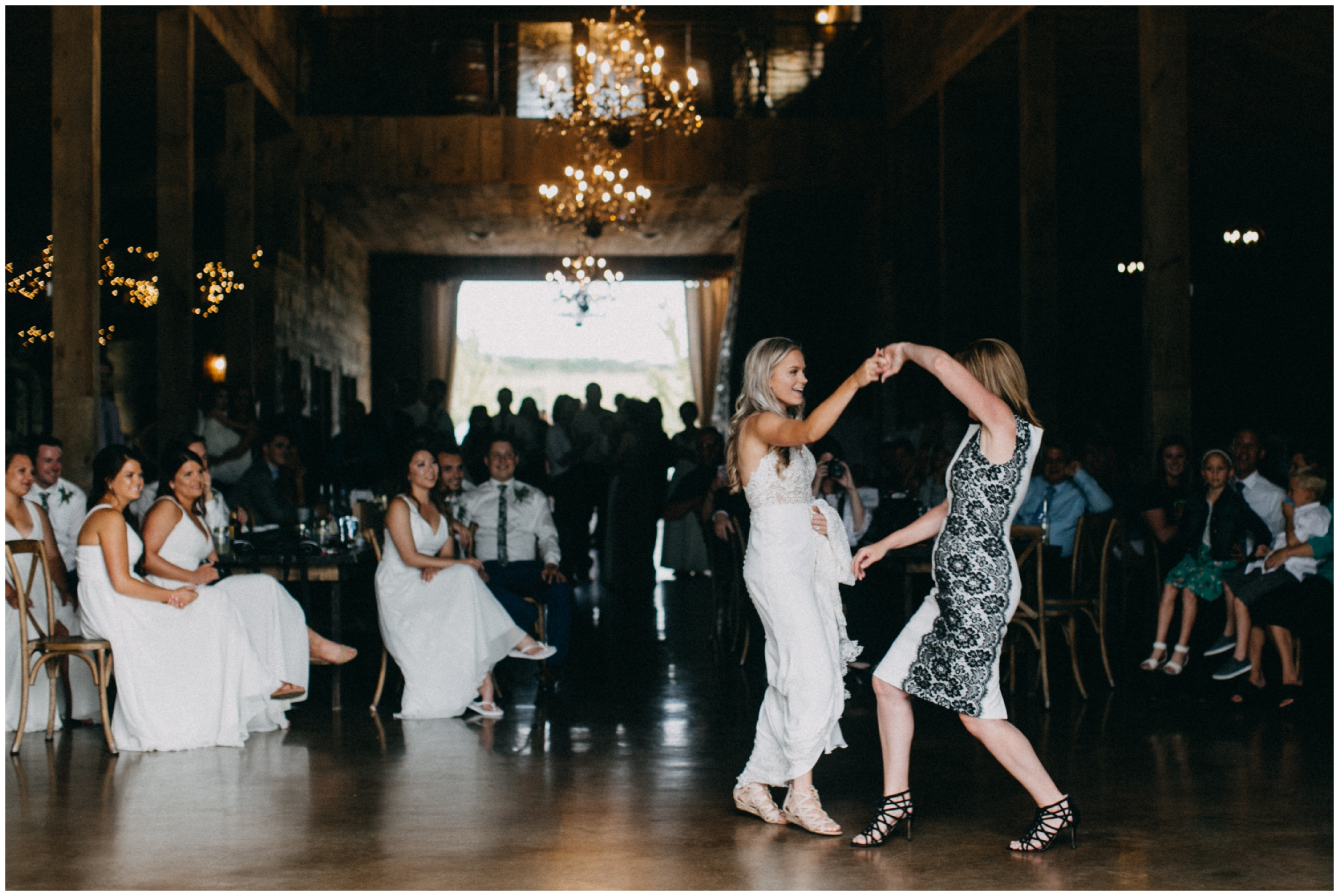 Mother and daughter first dance during Creekside Farm wedding reception