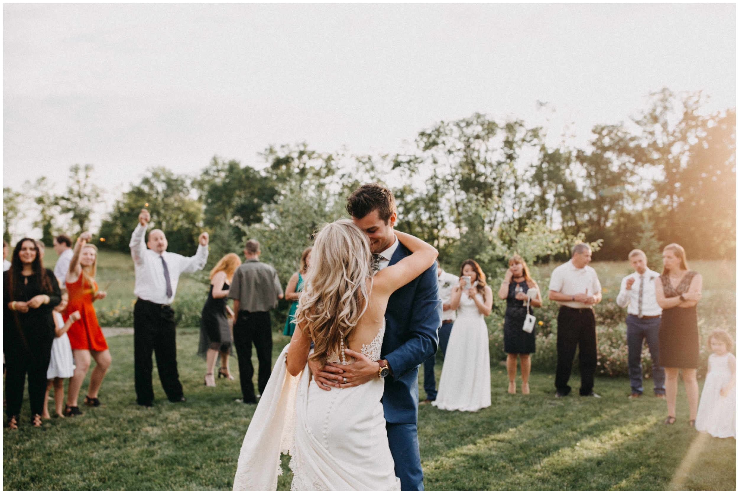 Romantic first dance during sunset at Creekside Farm wedding