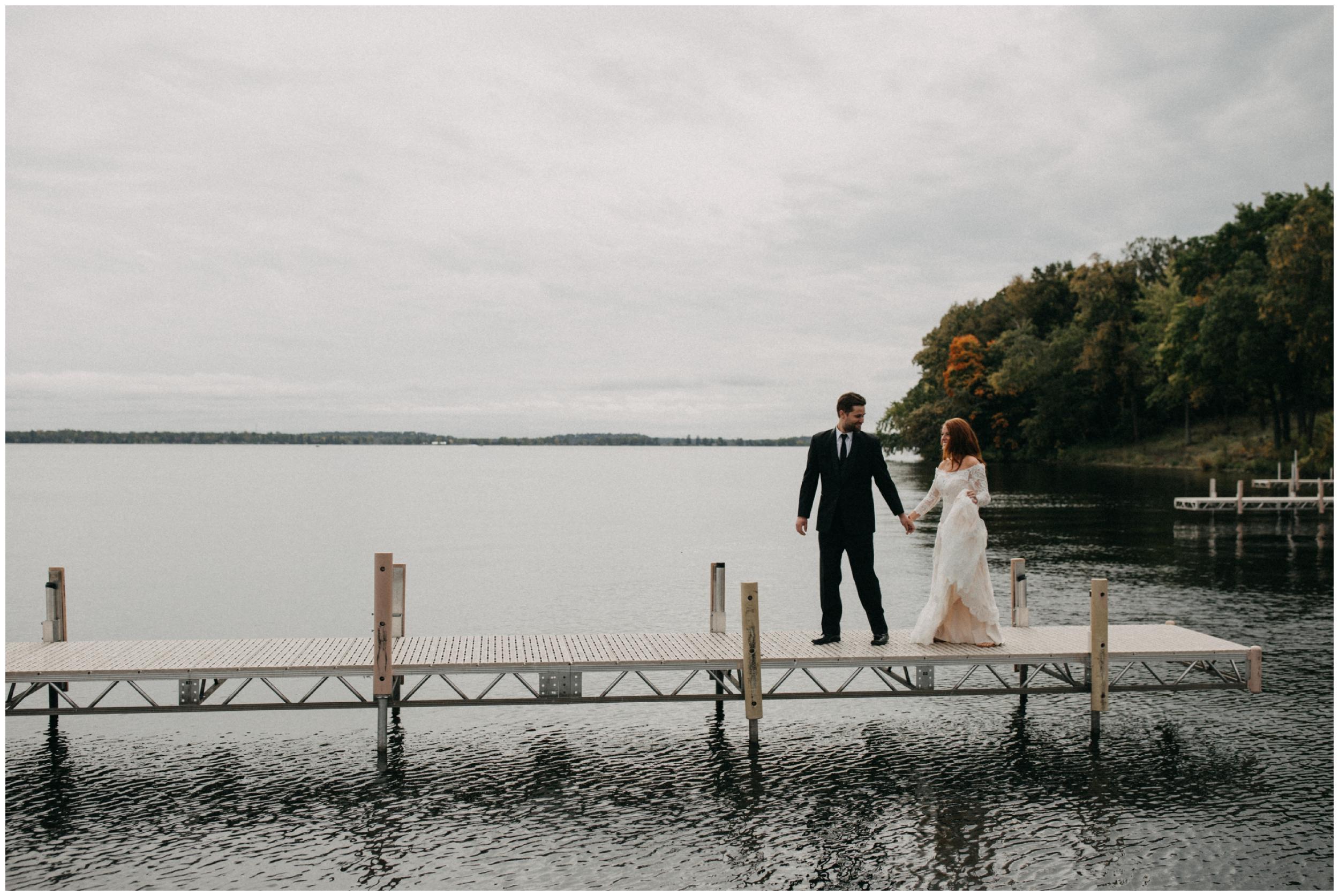 Fall wedding on Gull Lake Minnesota