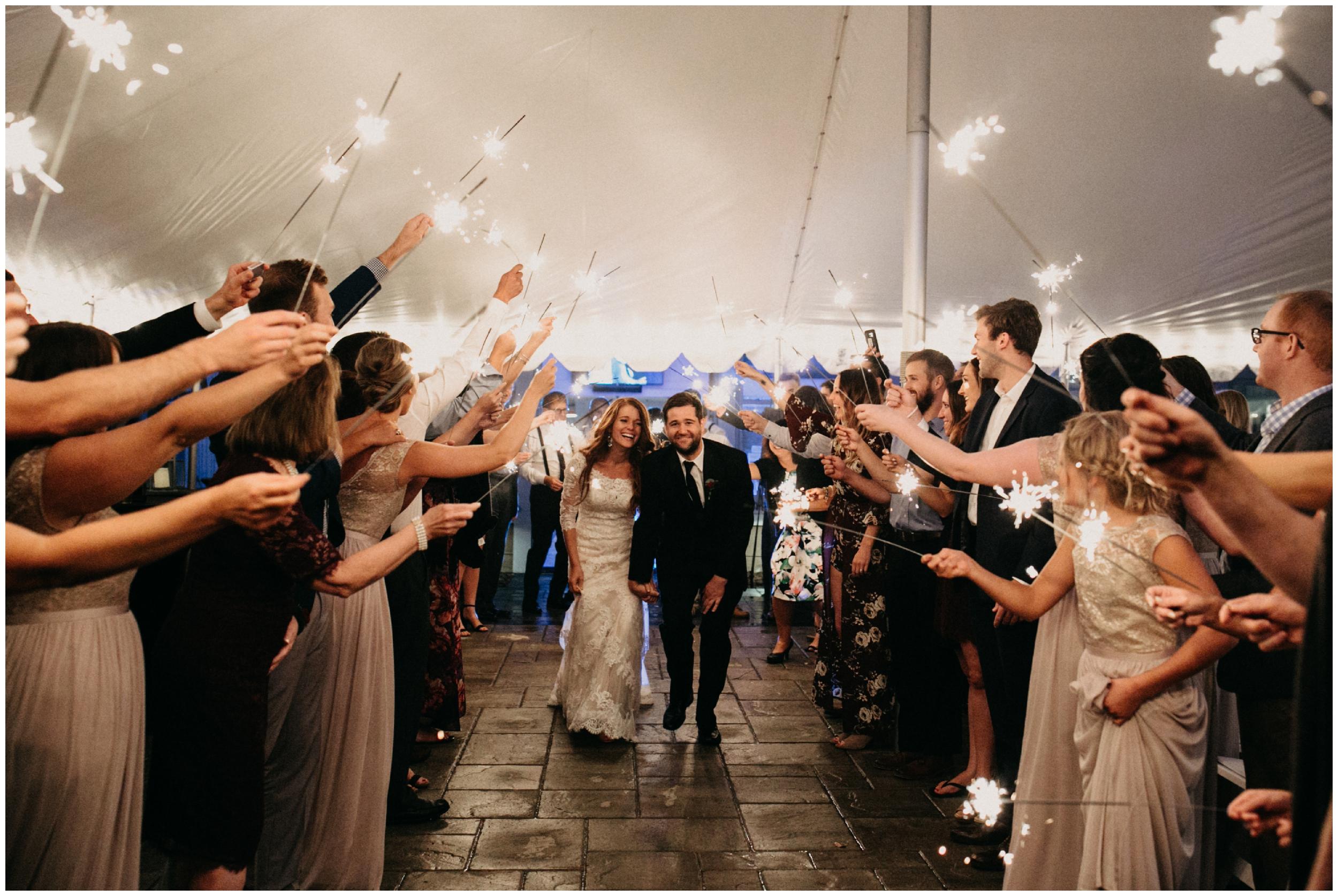 Sparkler wedding exit at the Quarterdeck in Brainerd