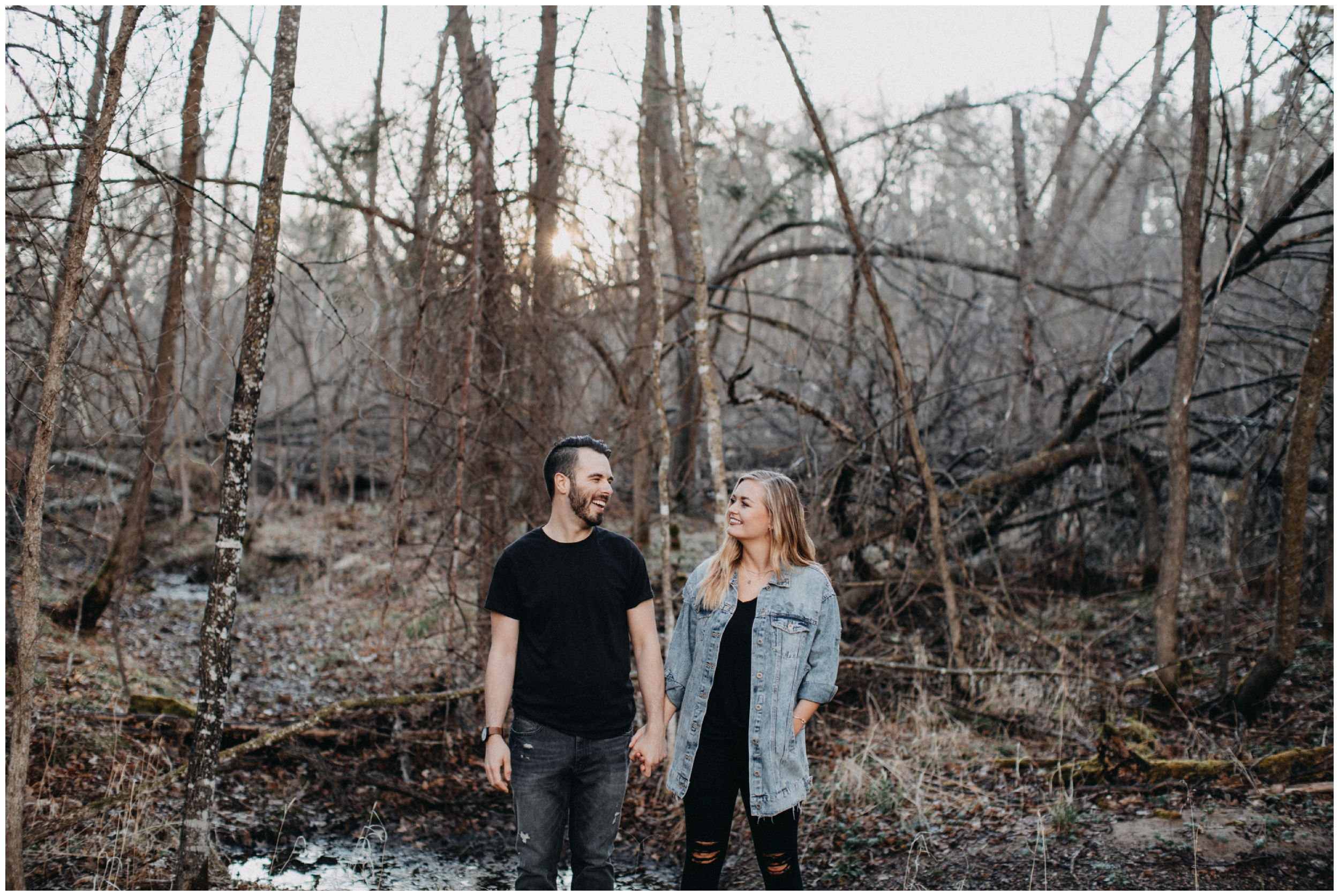 Engagement session with natural emotions at Fritz Loven Park