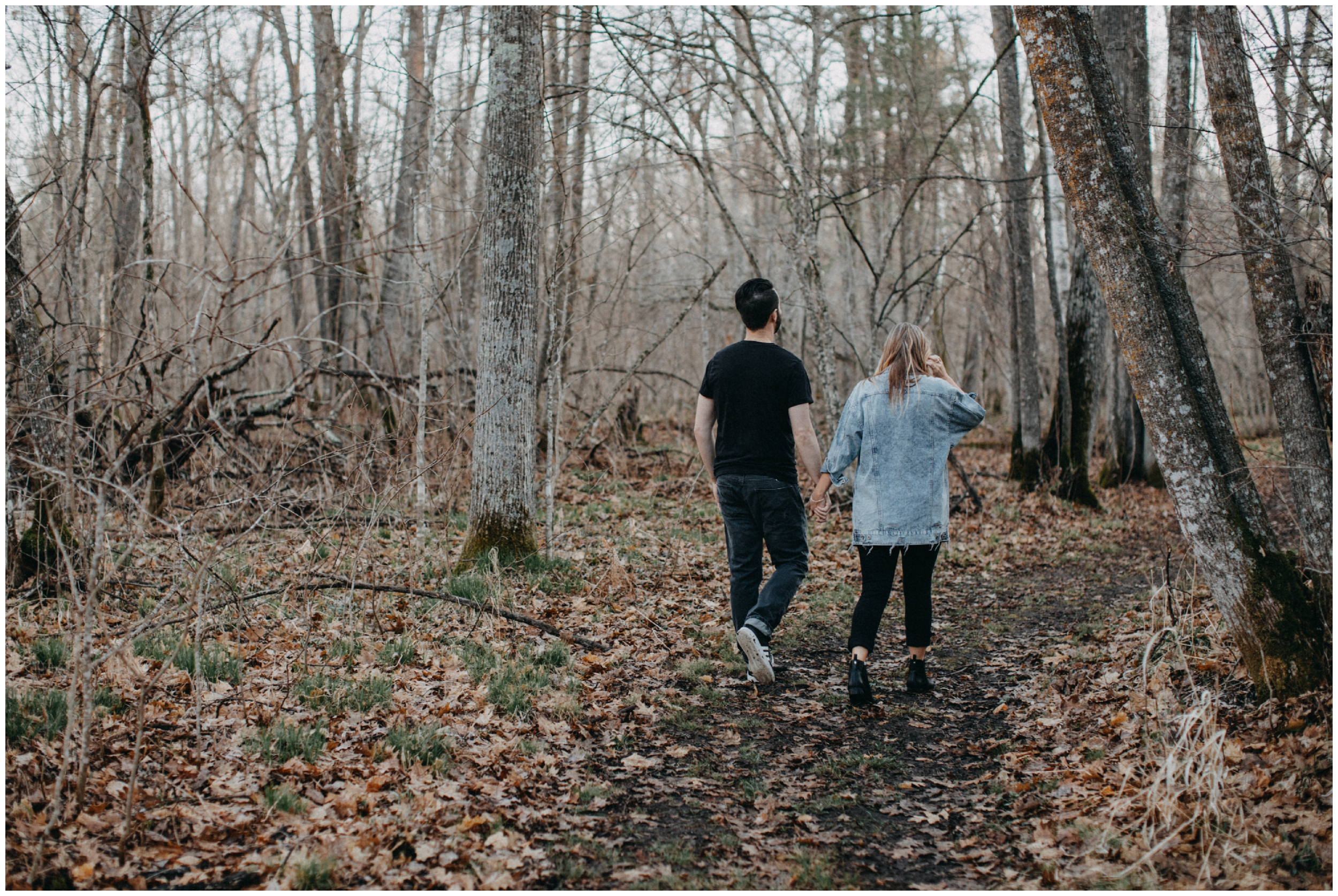 Spring engagement in the woods in Brainerd Minnesota