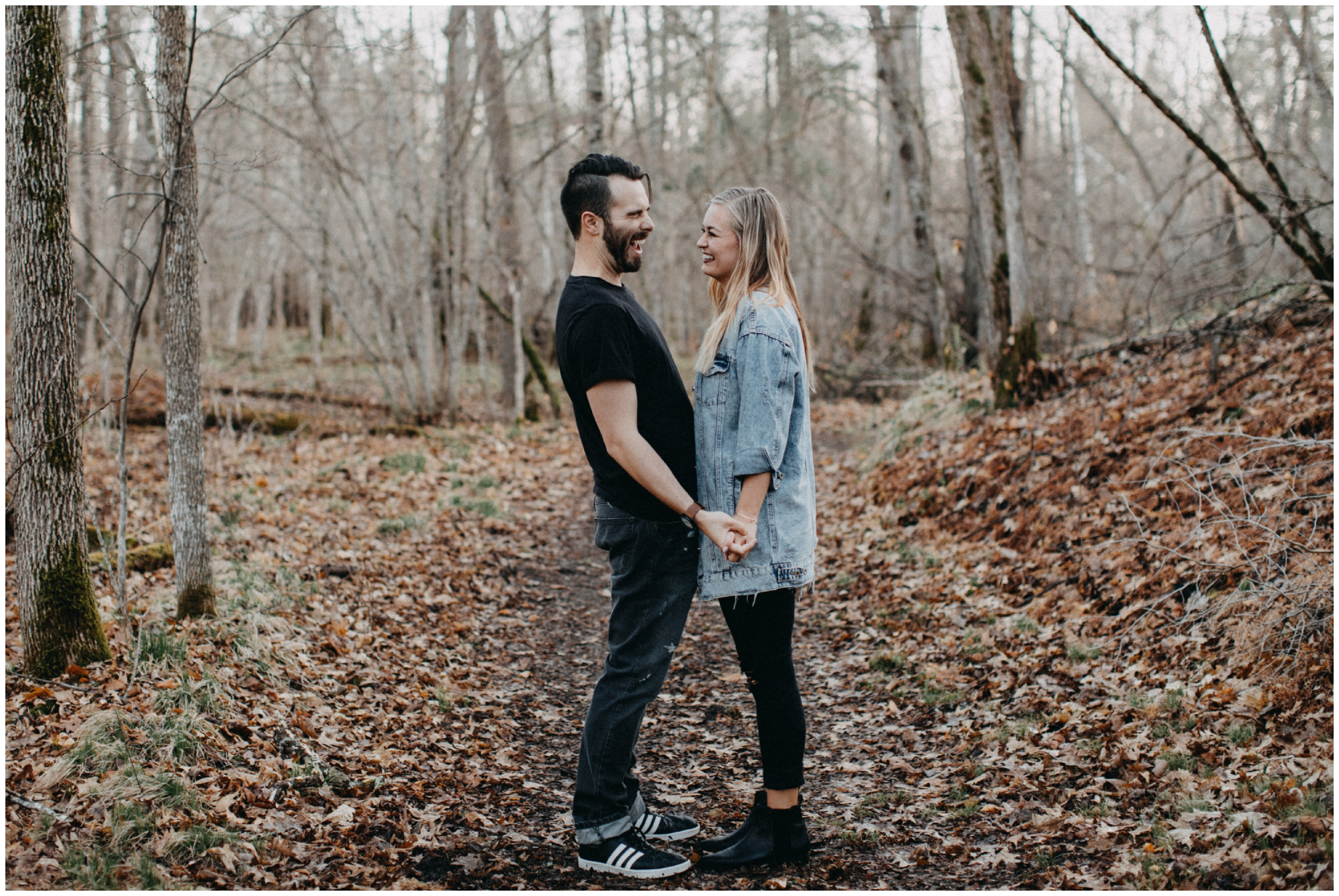 Spring forest engagement shoot in Brainerd Minnesota