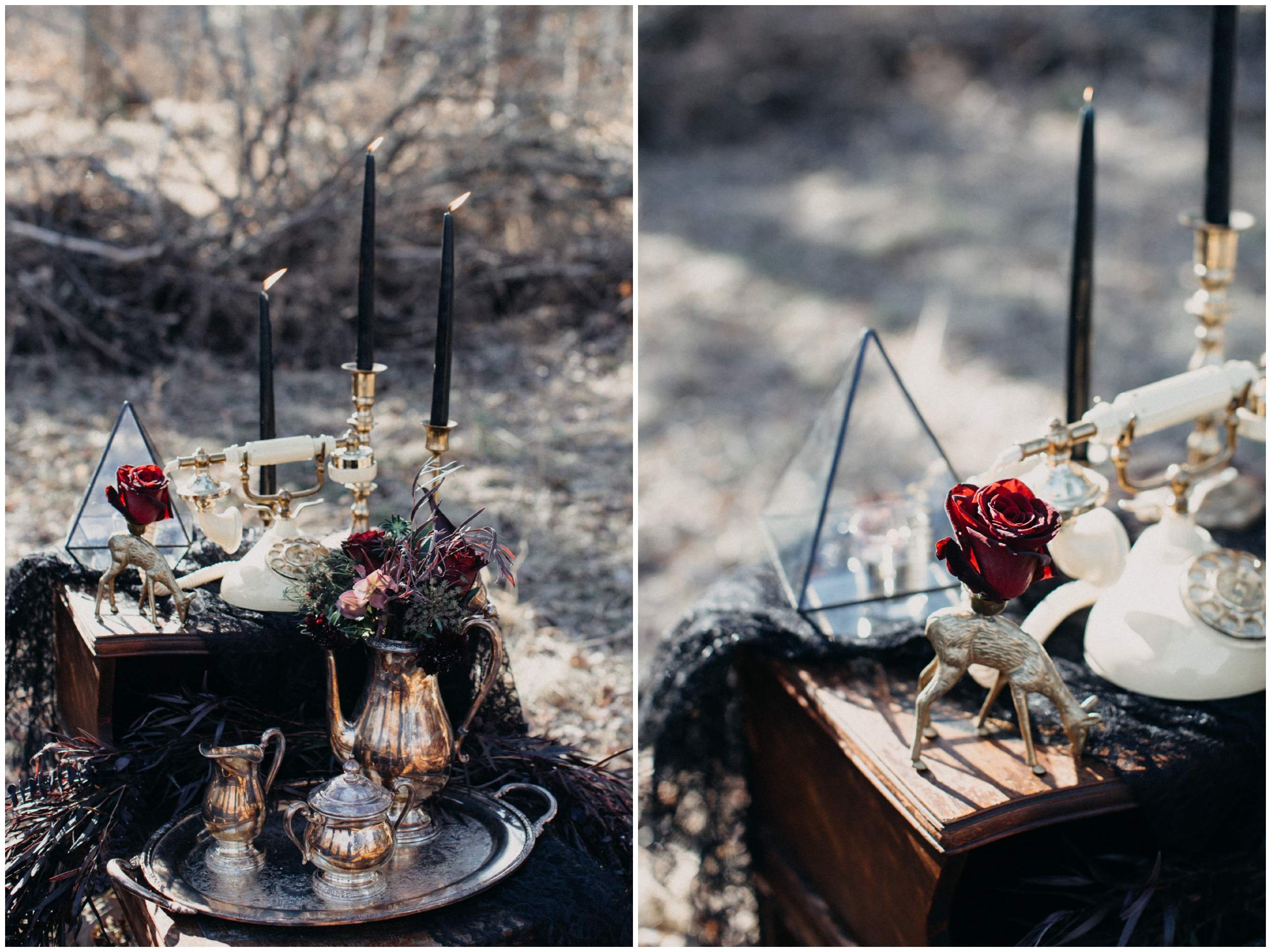 Vintage and eclectic wedding decor photographed by Britt DeZeeuw