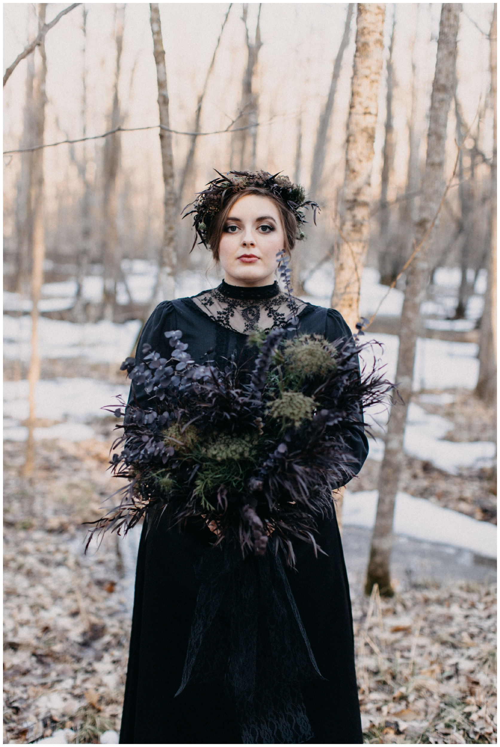 Gothic styled bride in the woods