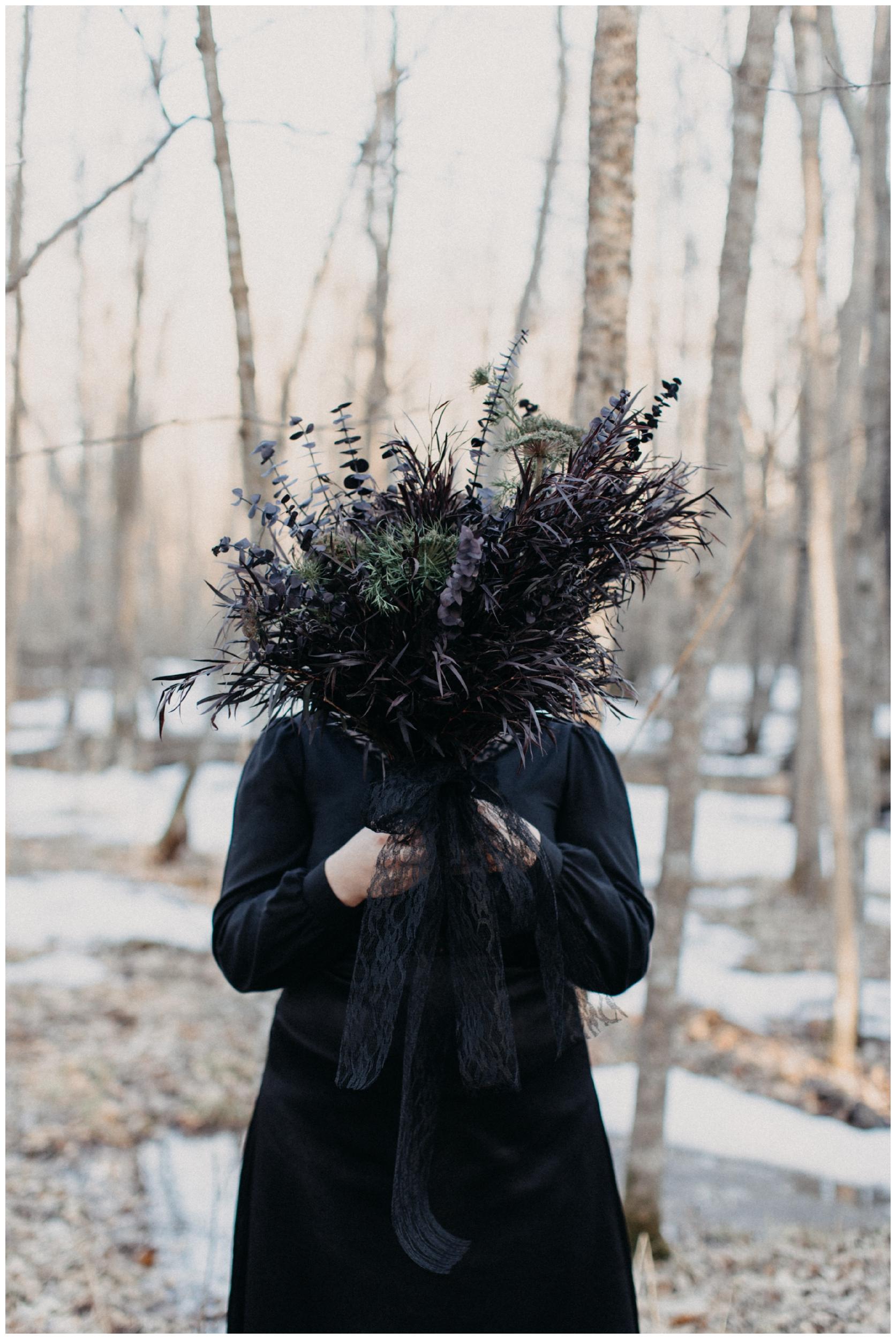Sultry dark floral wedding bouquet