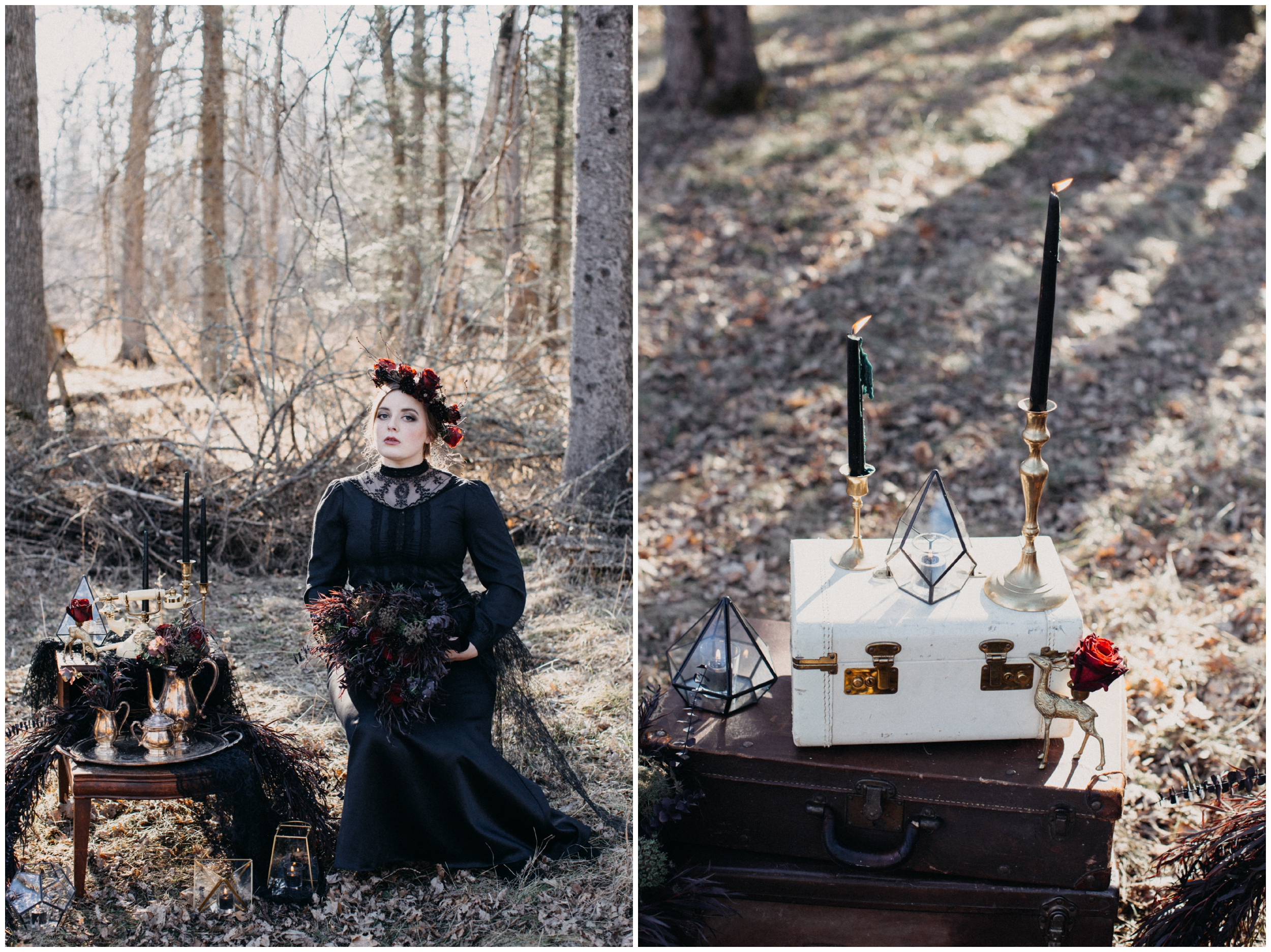 Dark and moody styled bridal session in Brainerd Minnesota