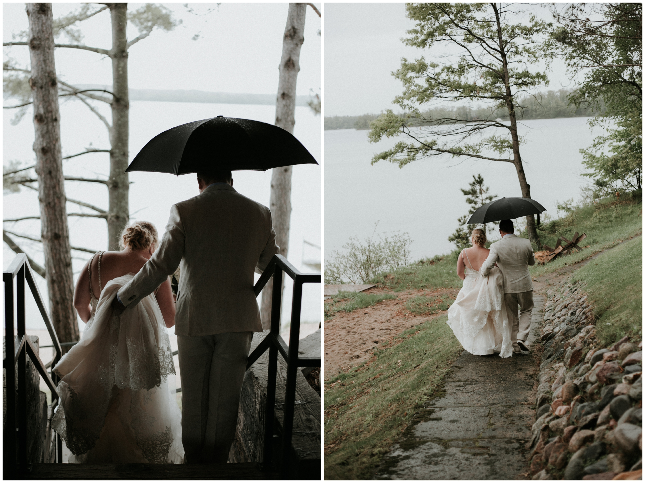 Rainy outdoor wedding on Gull lake in Brainerd Minnesota