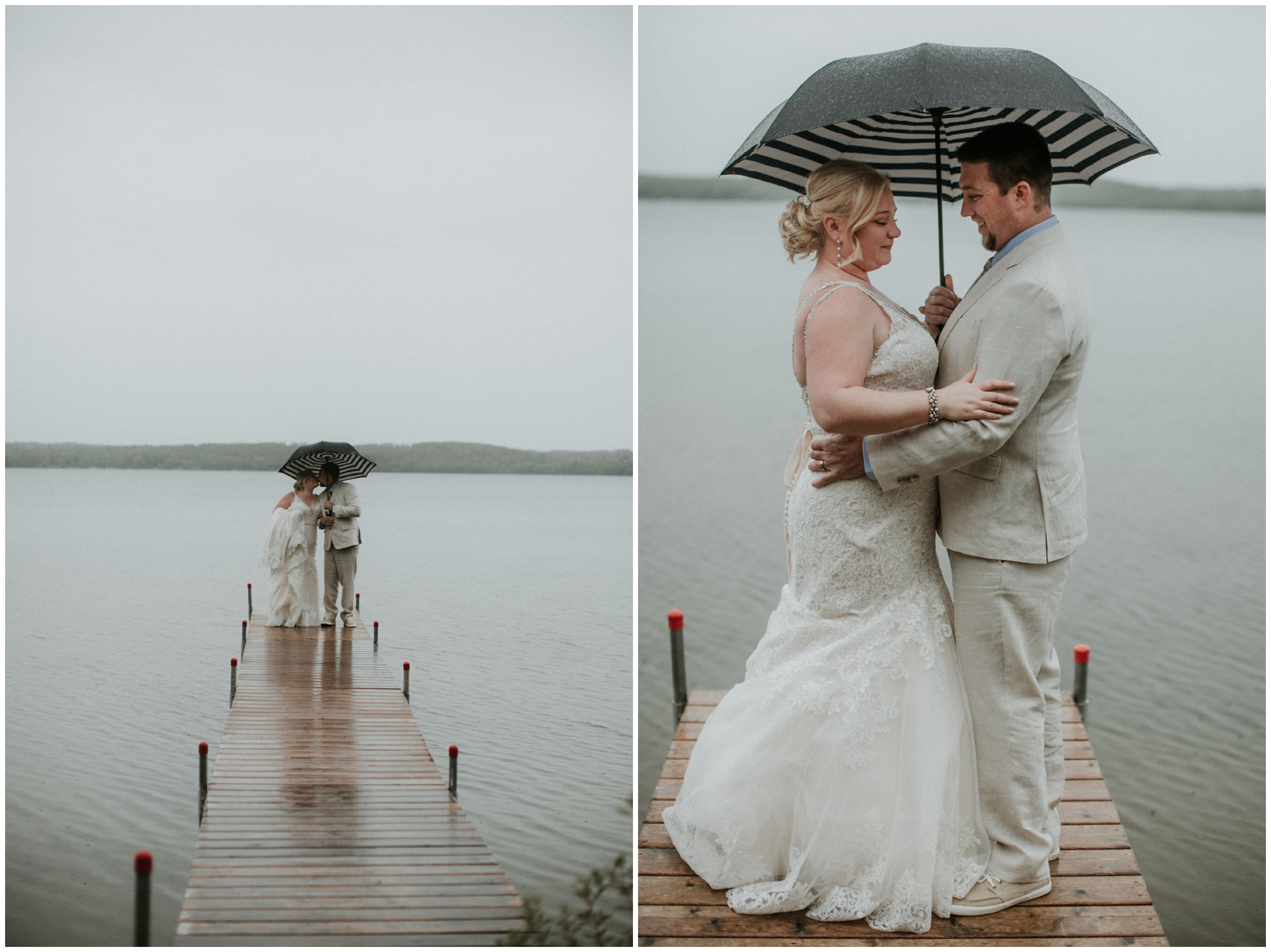Romantic rainy spring wedding on Gull lake in Brainerd Minnesota