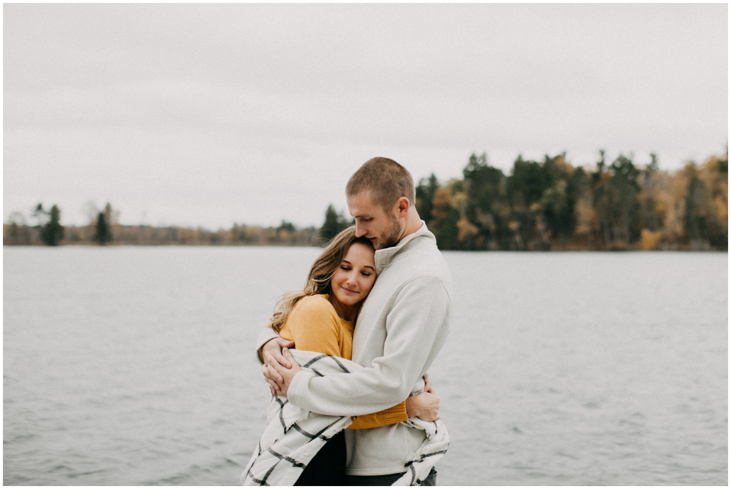 Northern Minnesota cabin engagement session on the lake in Hackensack
