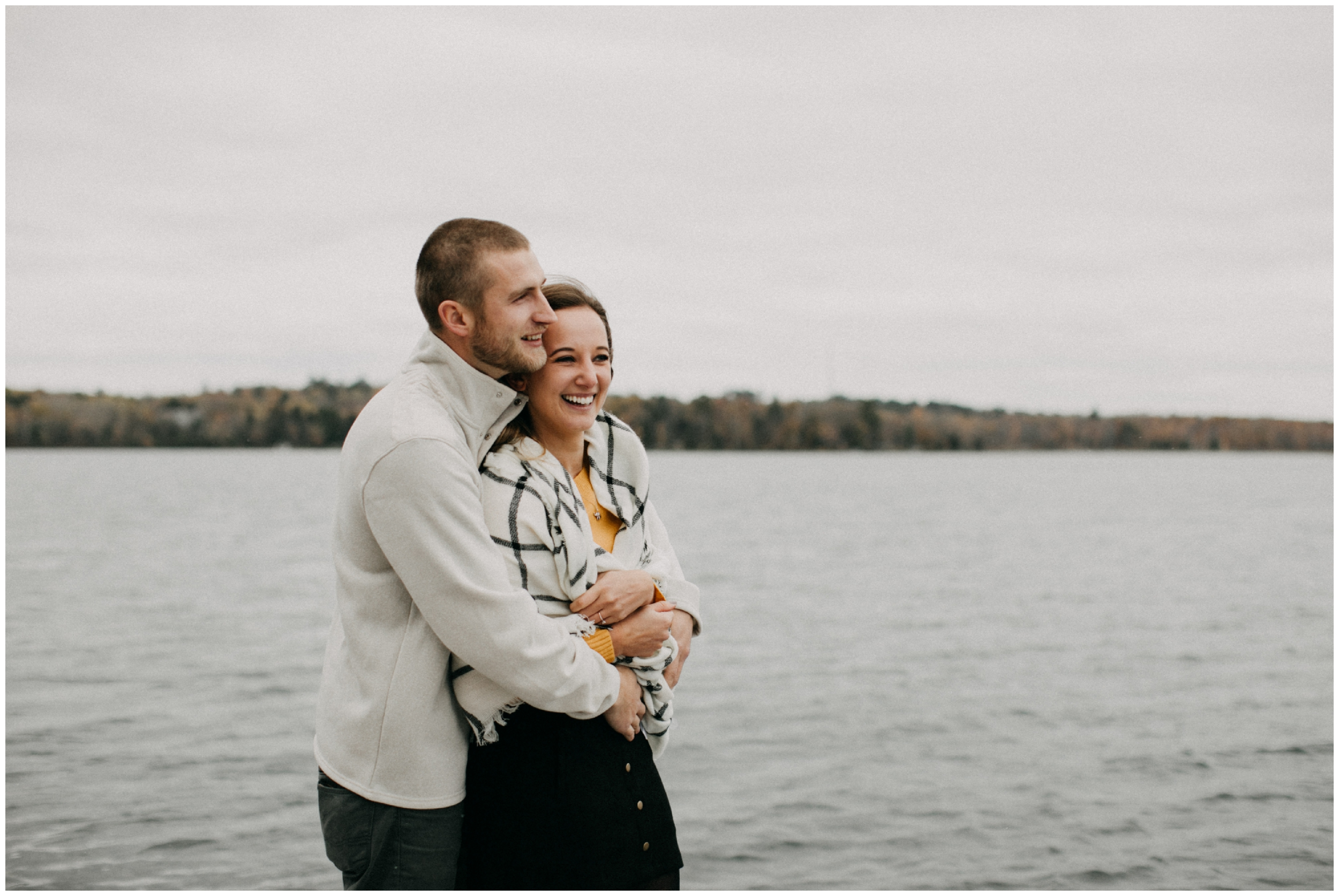 Fall engagement session on the lake in Hackensack, Minnesota