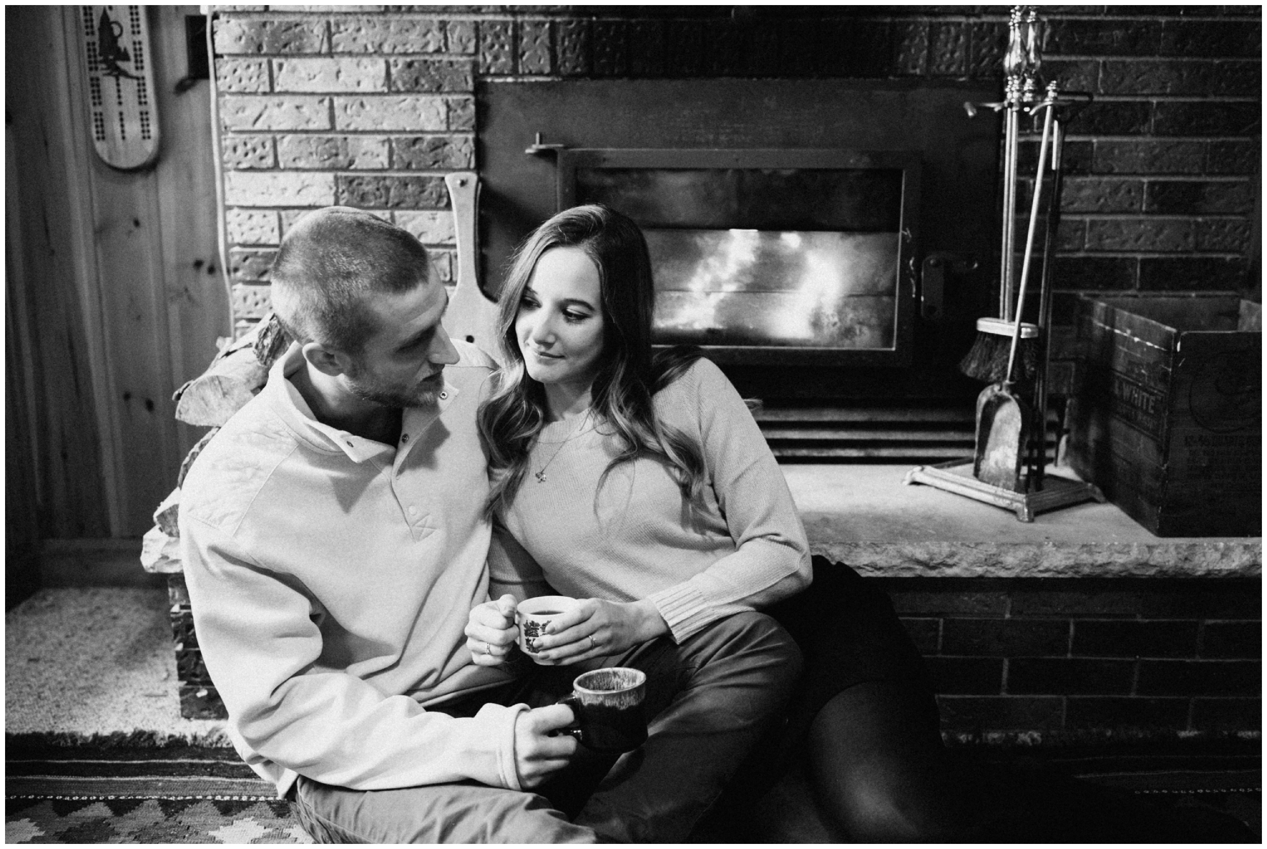 Engagement session at a cabin in the northwoods of Hackensack, Minnesota