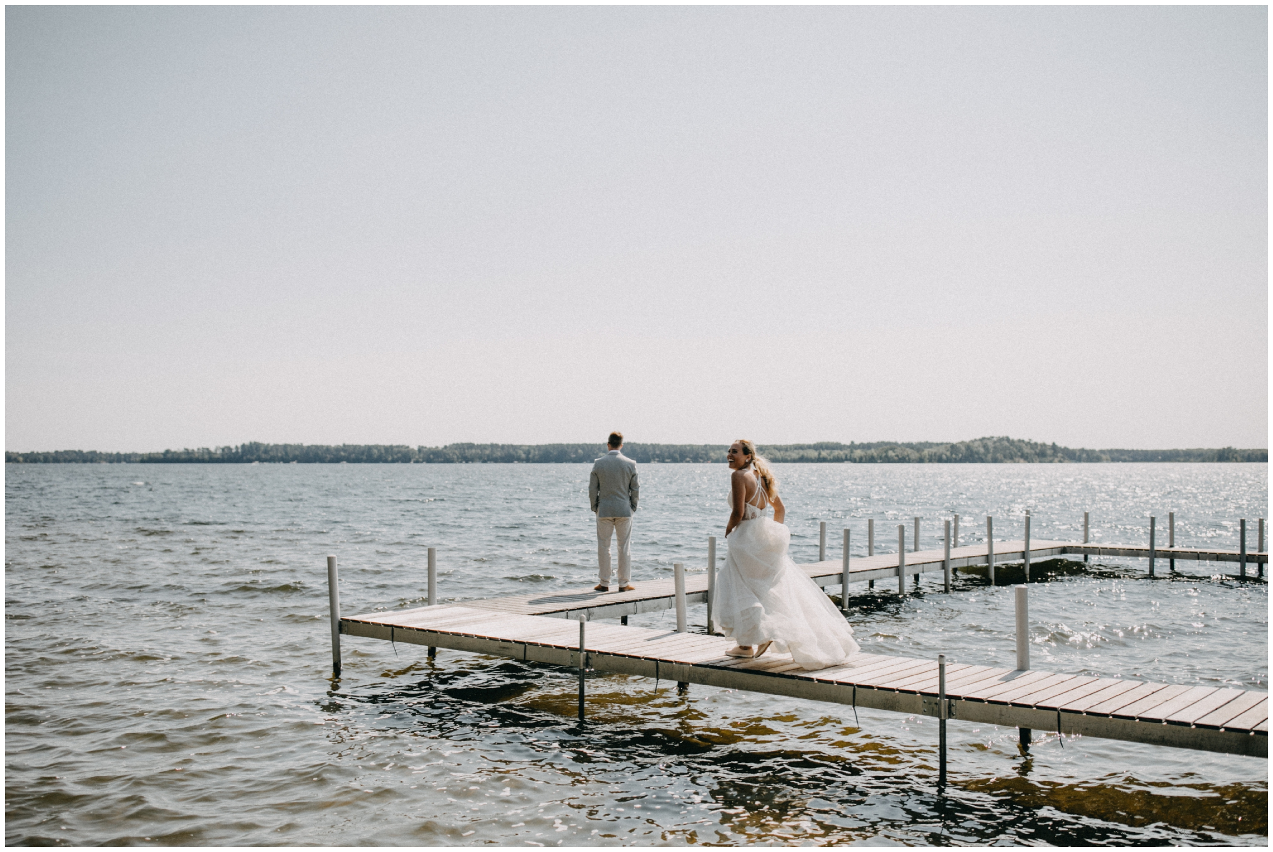 Summer wedding on the lake at Camp Foley in Pine River, Minnesota