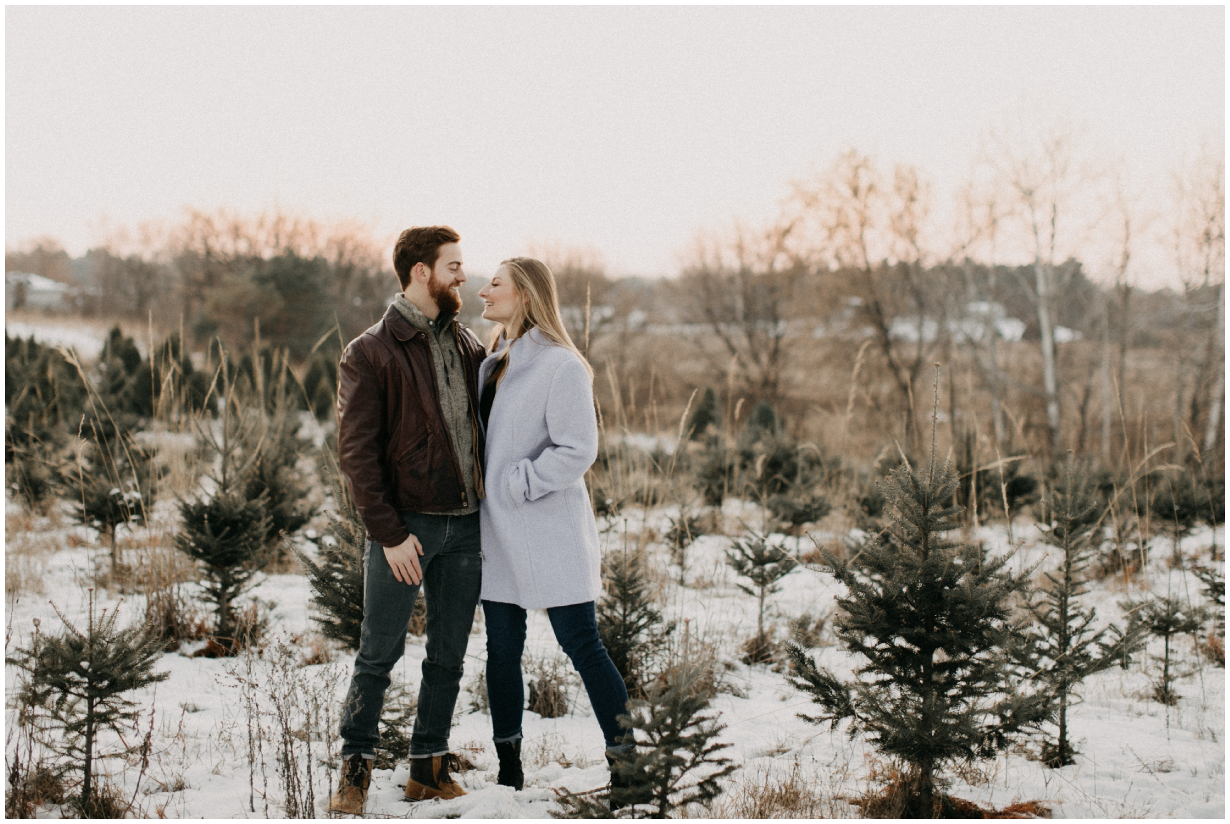 Winter engagement photography at Hansen Tree farm in Minnesota