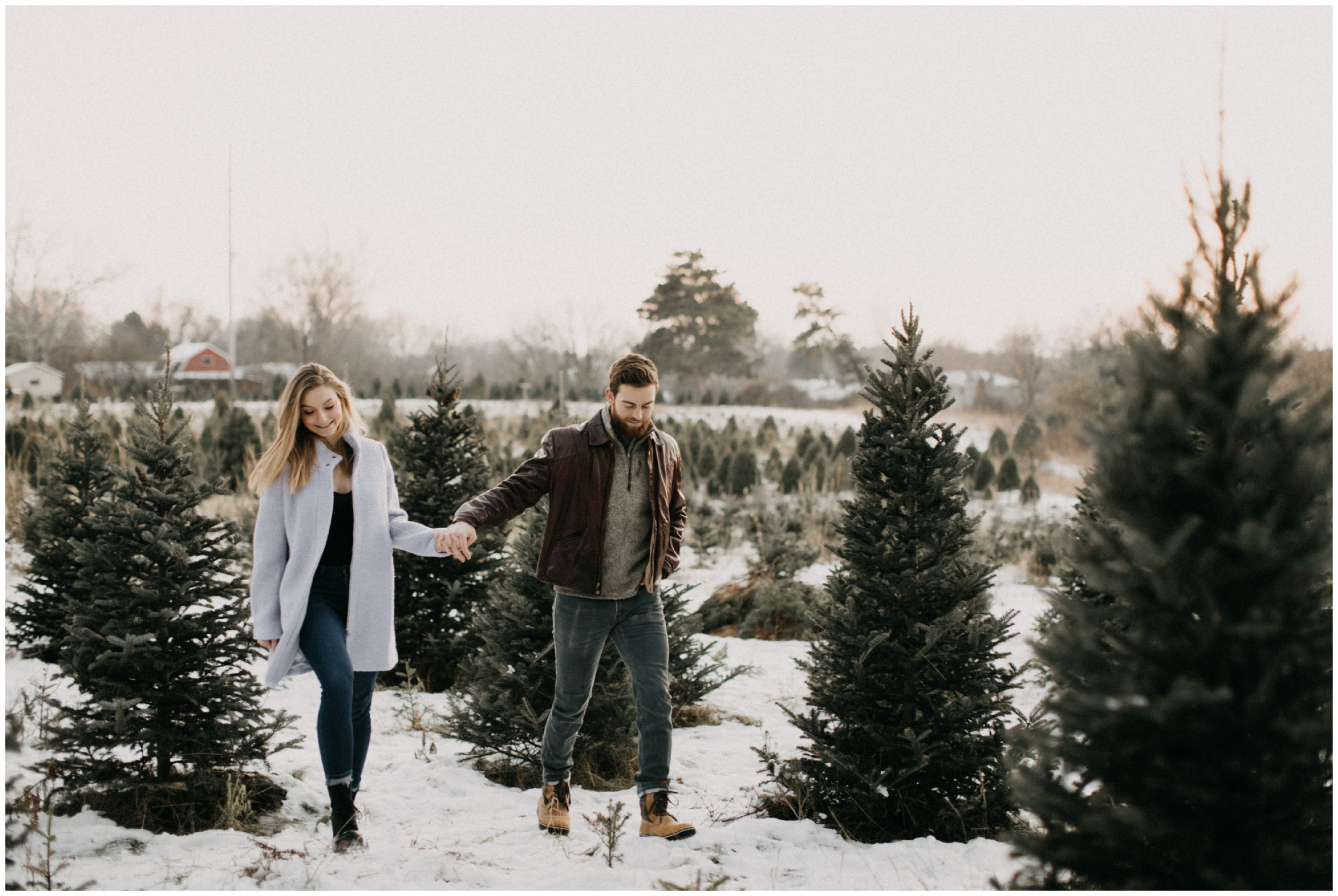 Christmas Tree farm engagement session by Minnesota wedding photographer Britt DeZeeuw
