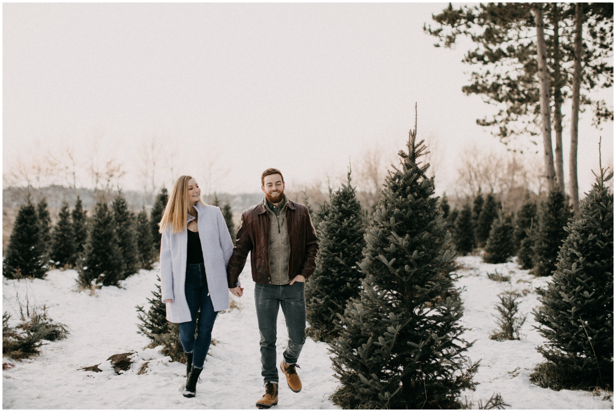Outdoor winter engagement session at Hansen Tree Farm